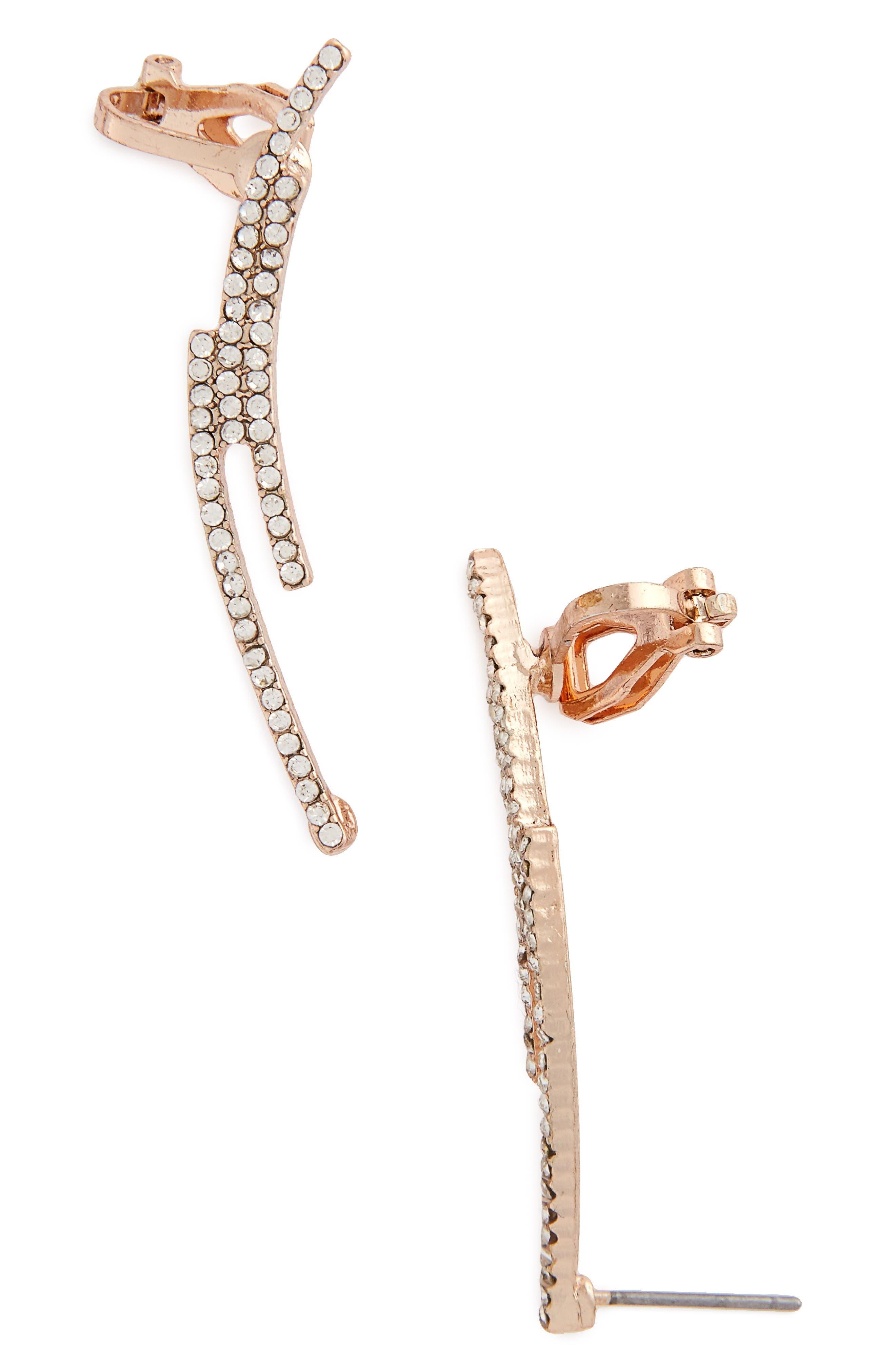 Alternate Image 1 Selected - Topshop Linear Crystal Ear Crawlers