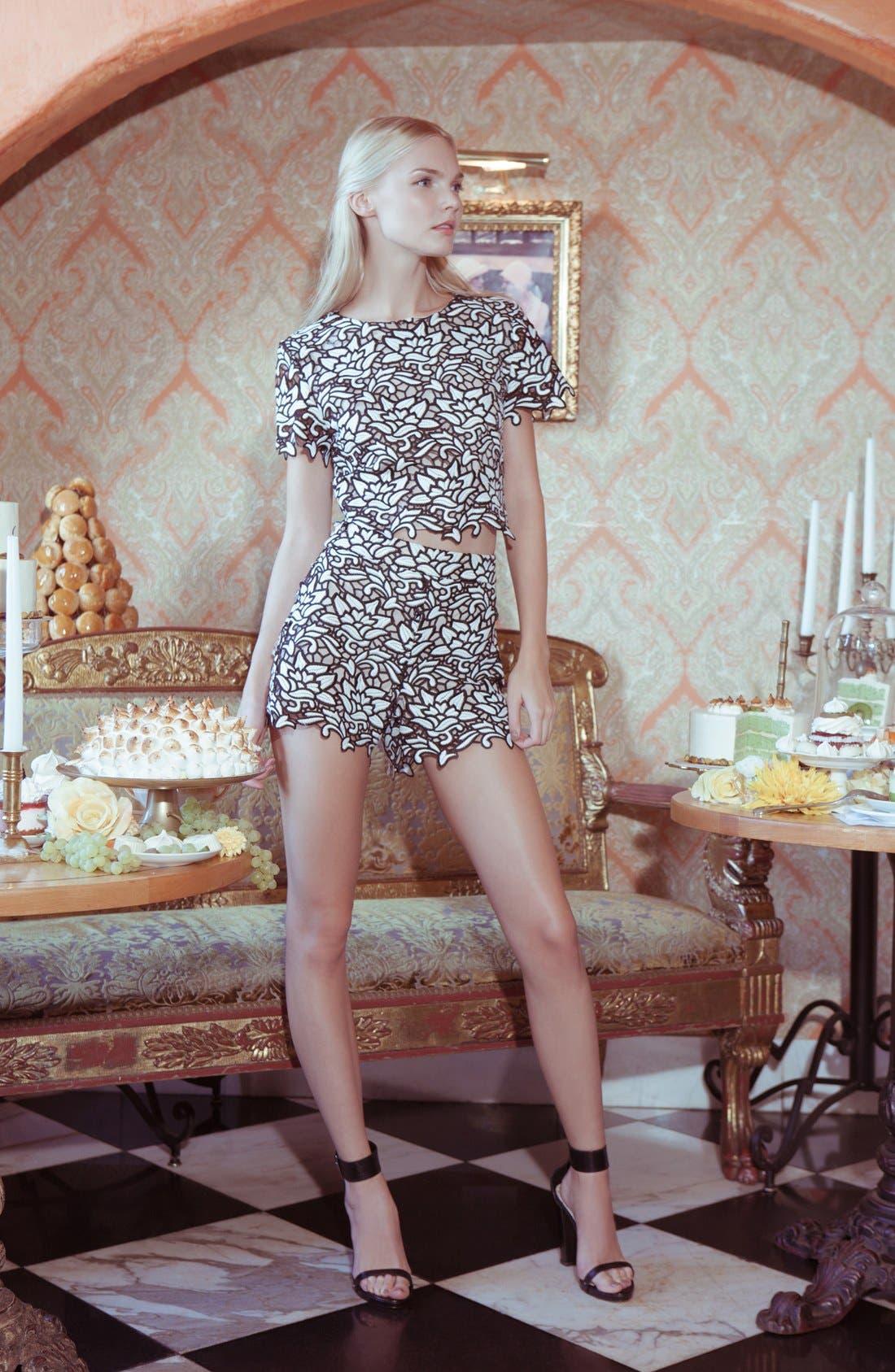Alternate Image 4  - Alice + Olivia High Waist Lace Shorts