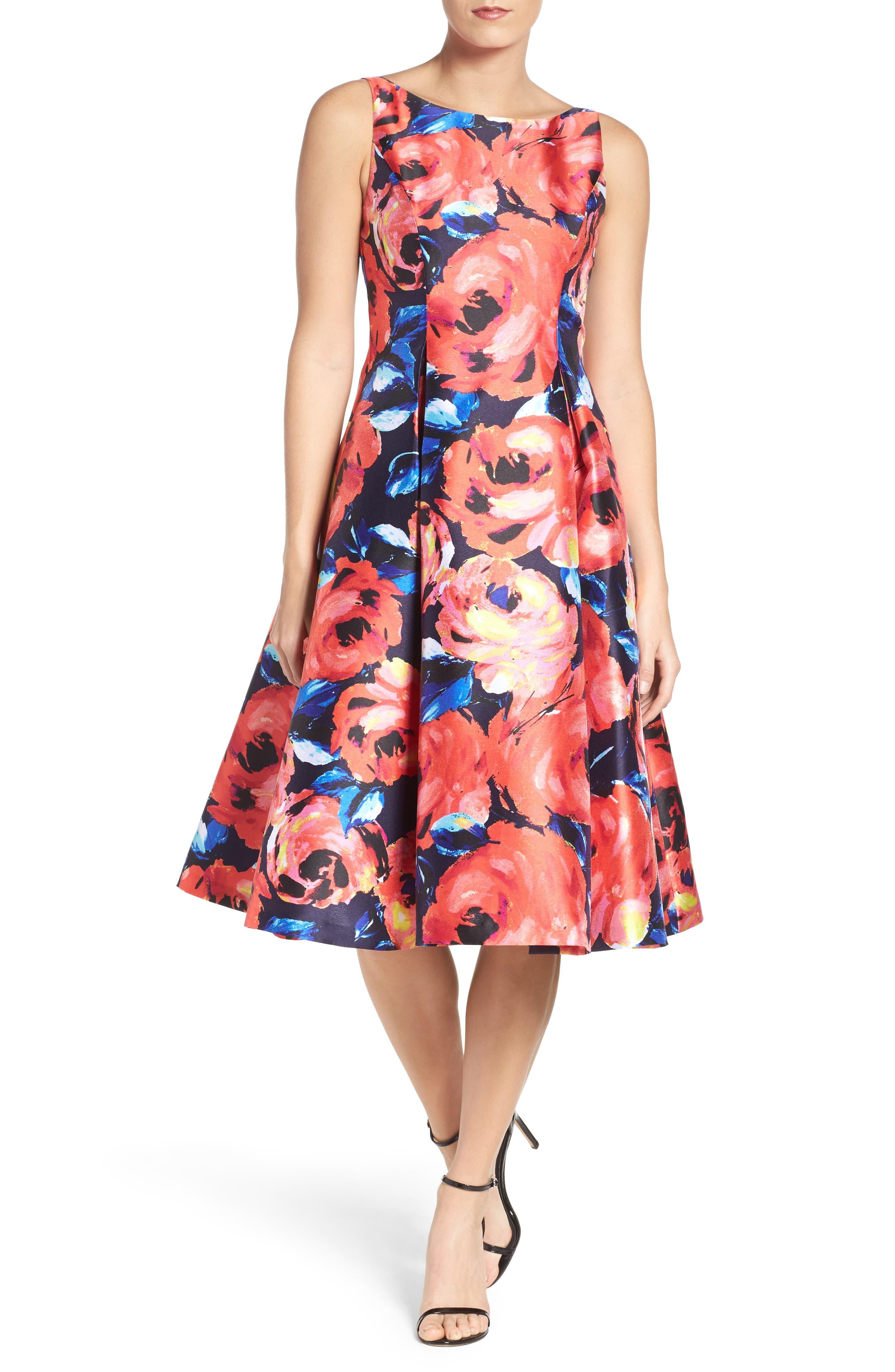 Adrianna Papell Floral Dress (Regular & Petite)