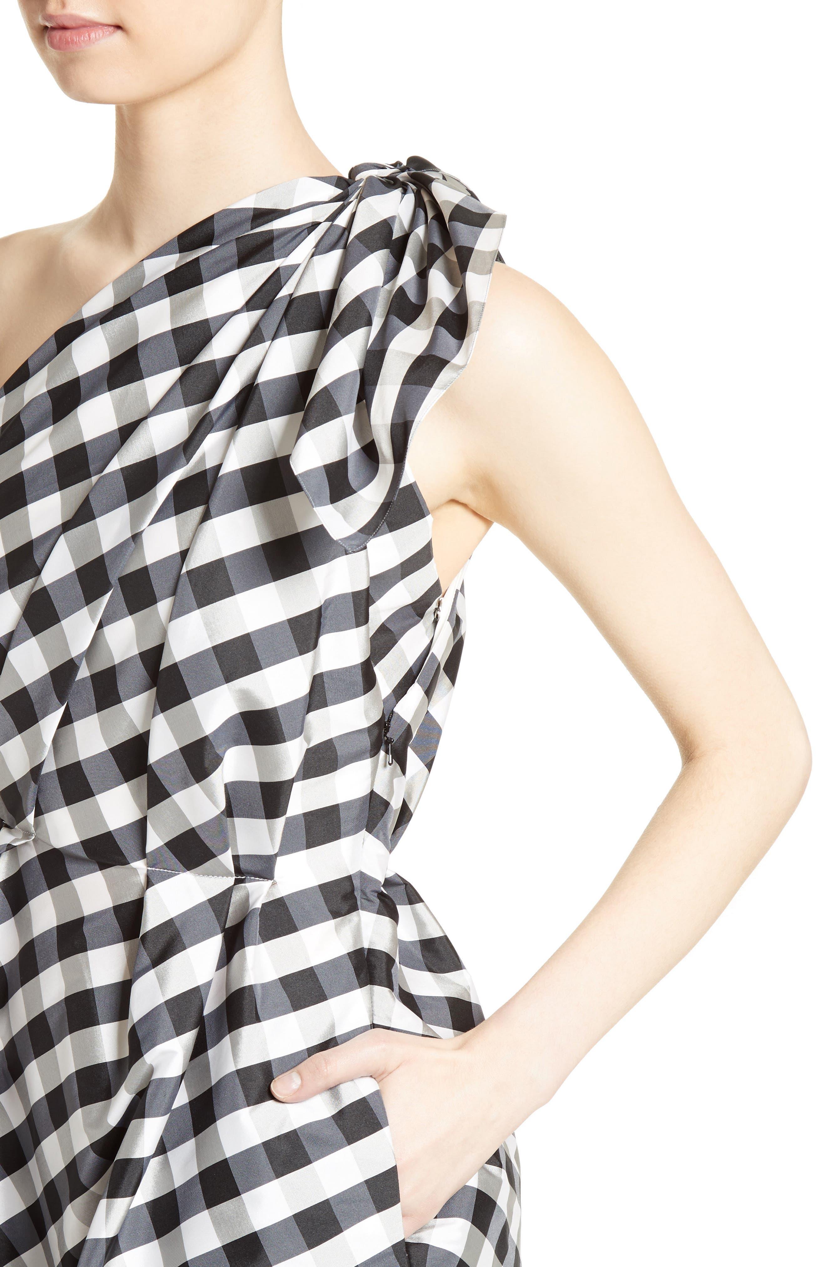 Alternate Image 5  - Carolina Herrera Bow Detail One-Shoulder Gingham Dress