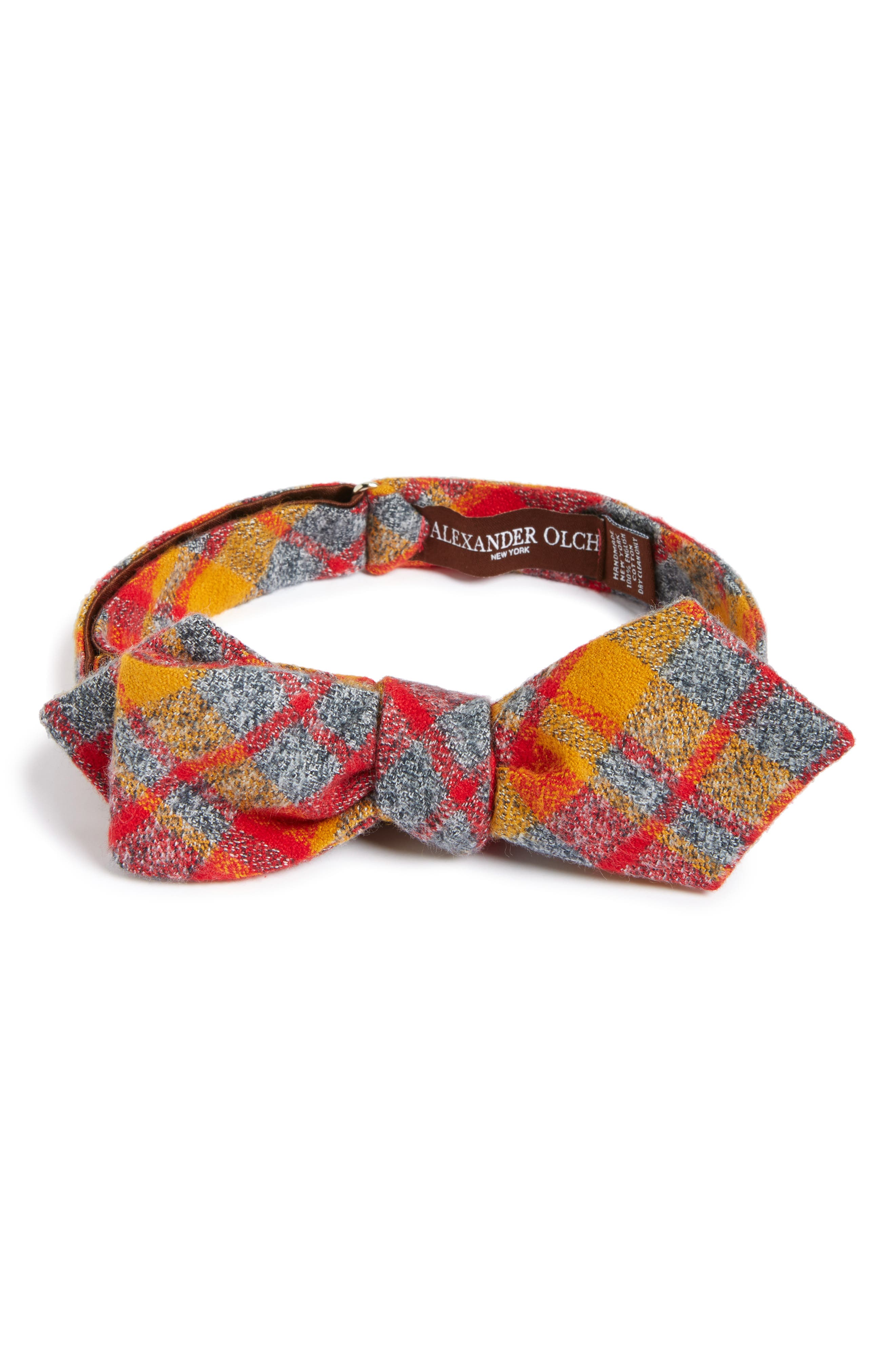 ALEXANDER OLCH Plaid Cotton Flannel Bow Tie