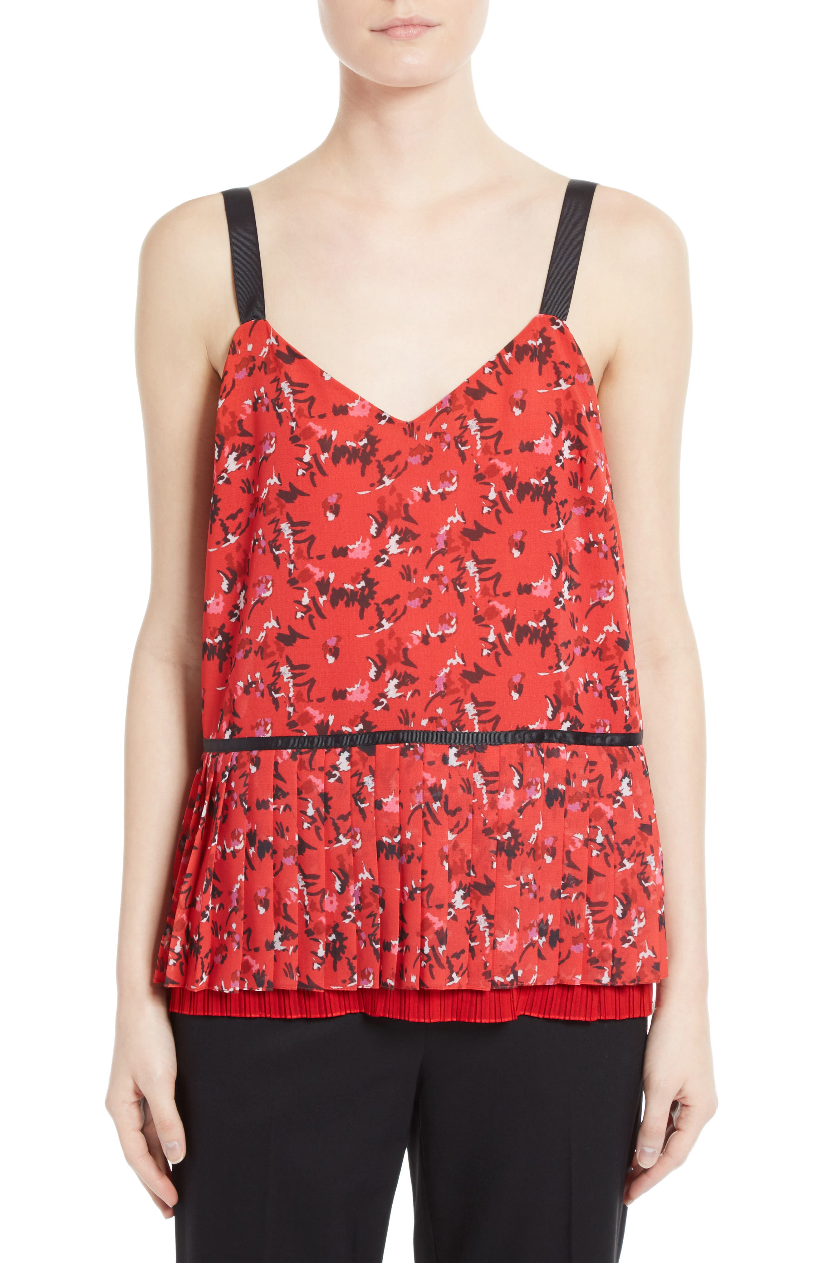 GREY JASON WU Pleated Print Silk Camisole