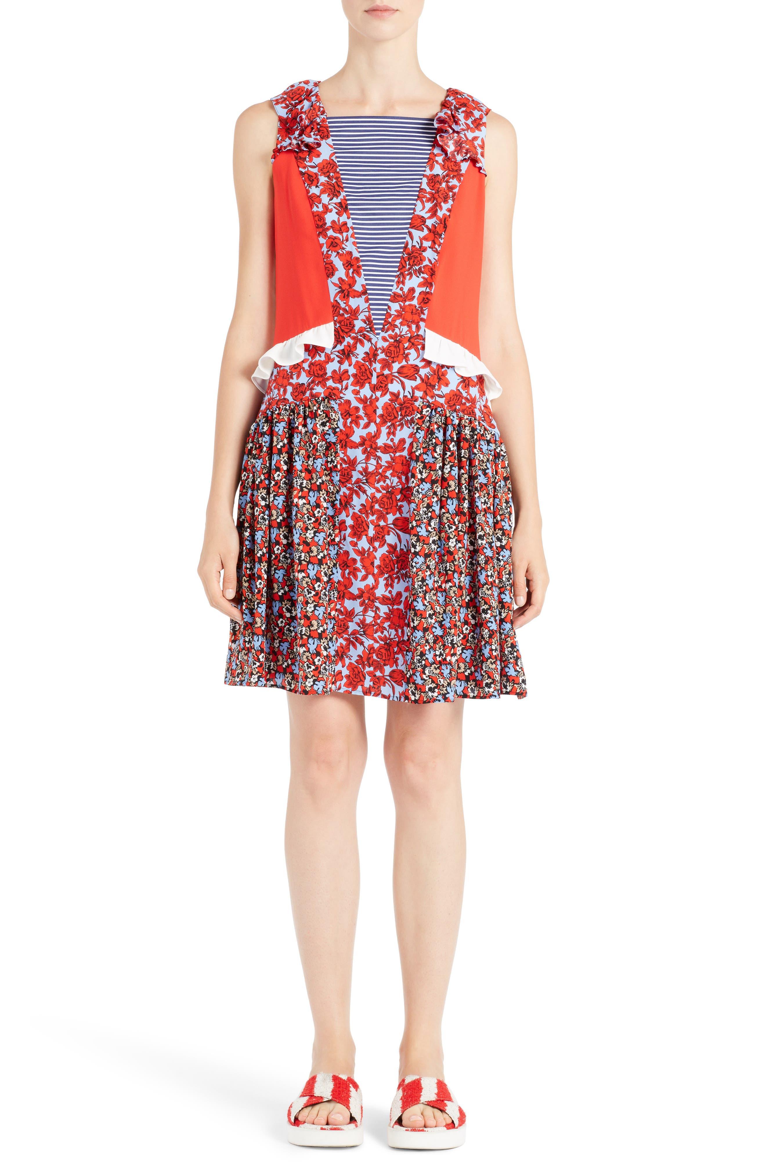 Alternate Image 1 Selected - MSGM Floral Patchwork Silk Dress