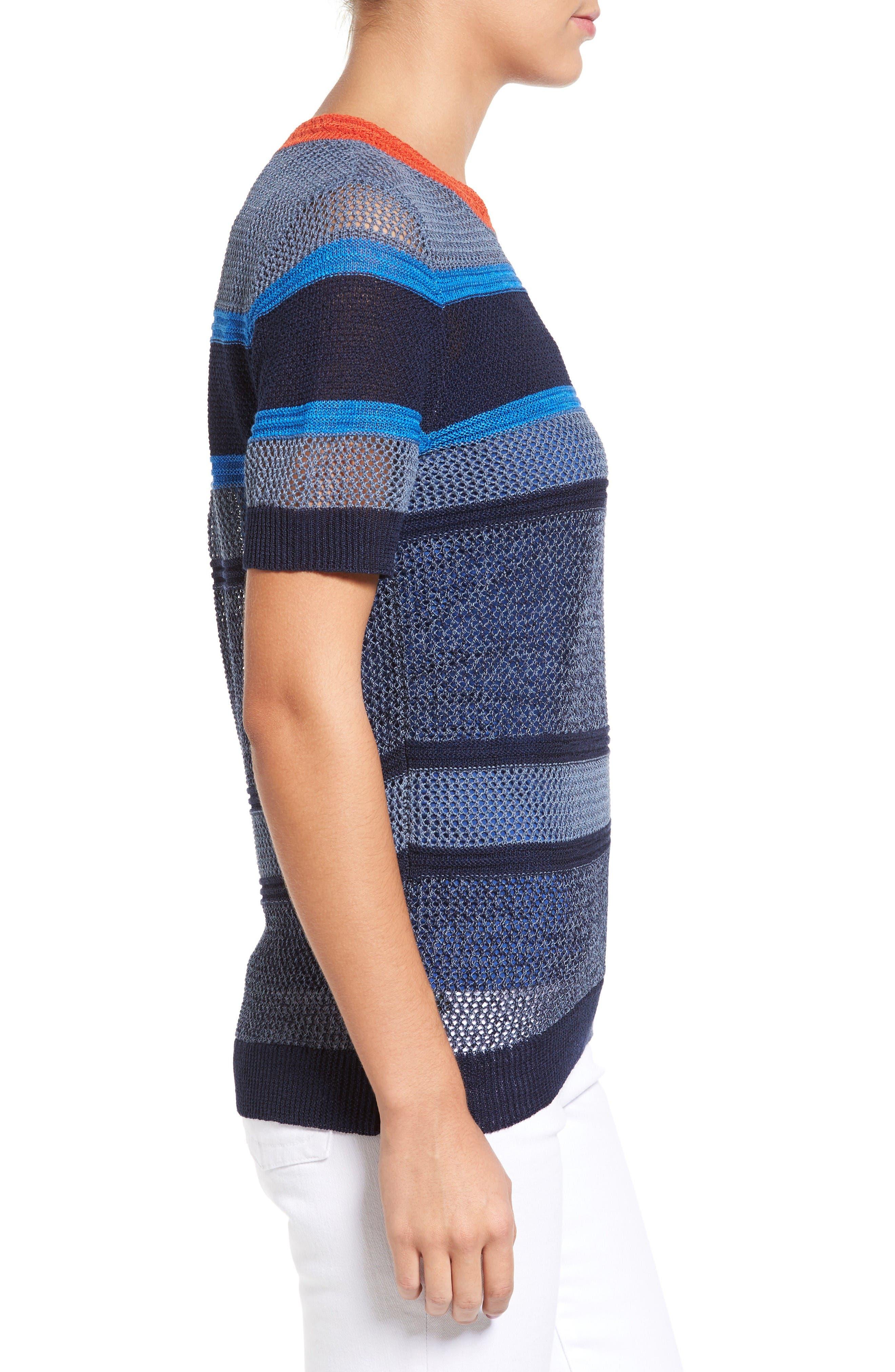 Alternate Image 3  - Halogen® Stripe Open Stitch Sweater (Regular & Petite)