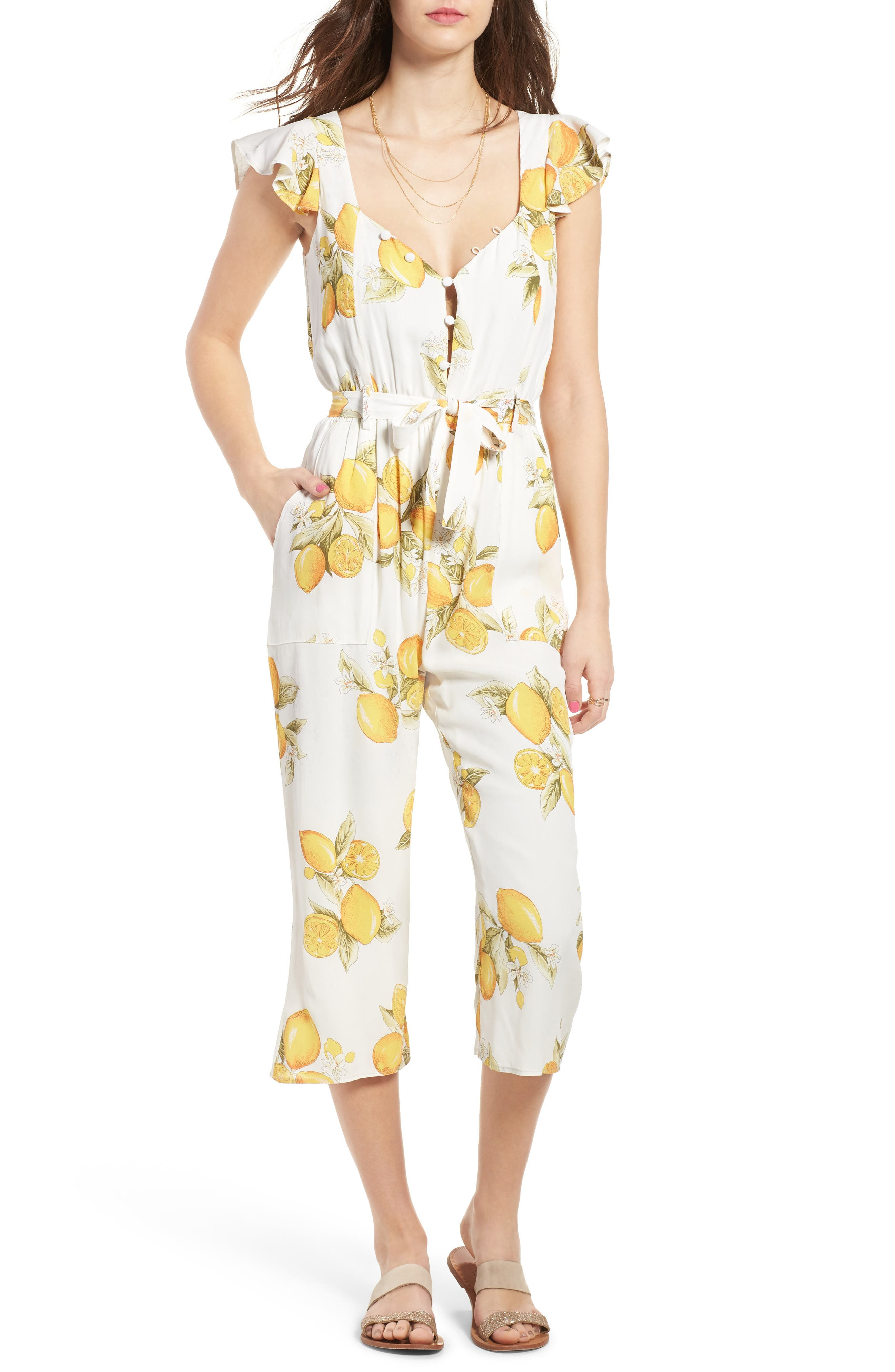 Main Image - For Love & Lemons Limonada Crop Jumpsuit