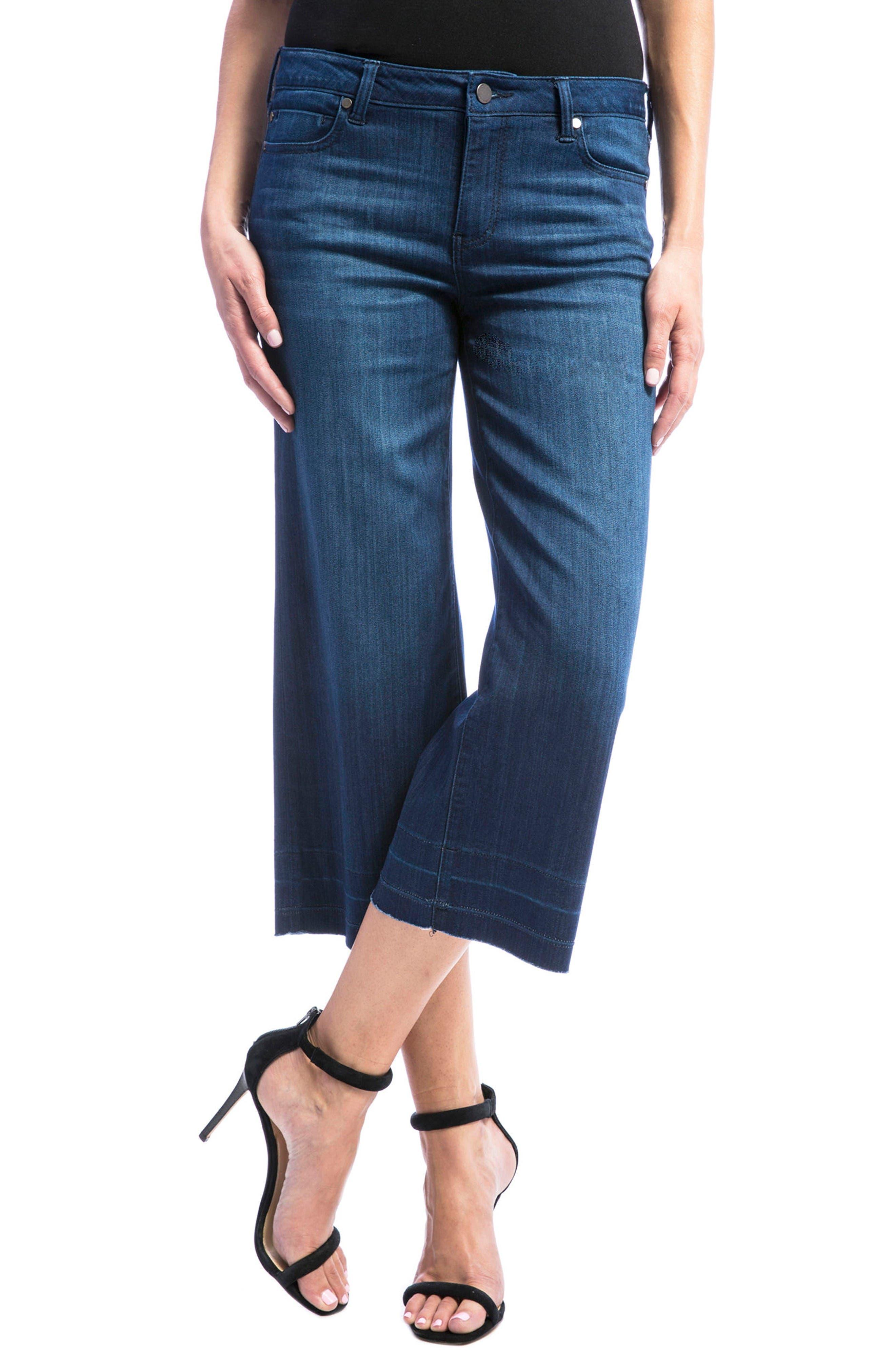 Liverpool Jeans Company High Waist Release Hem Crop Wide Leg Jeans