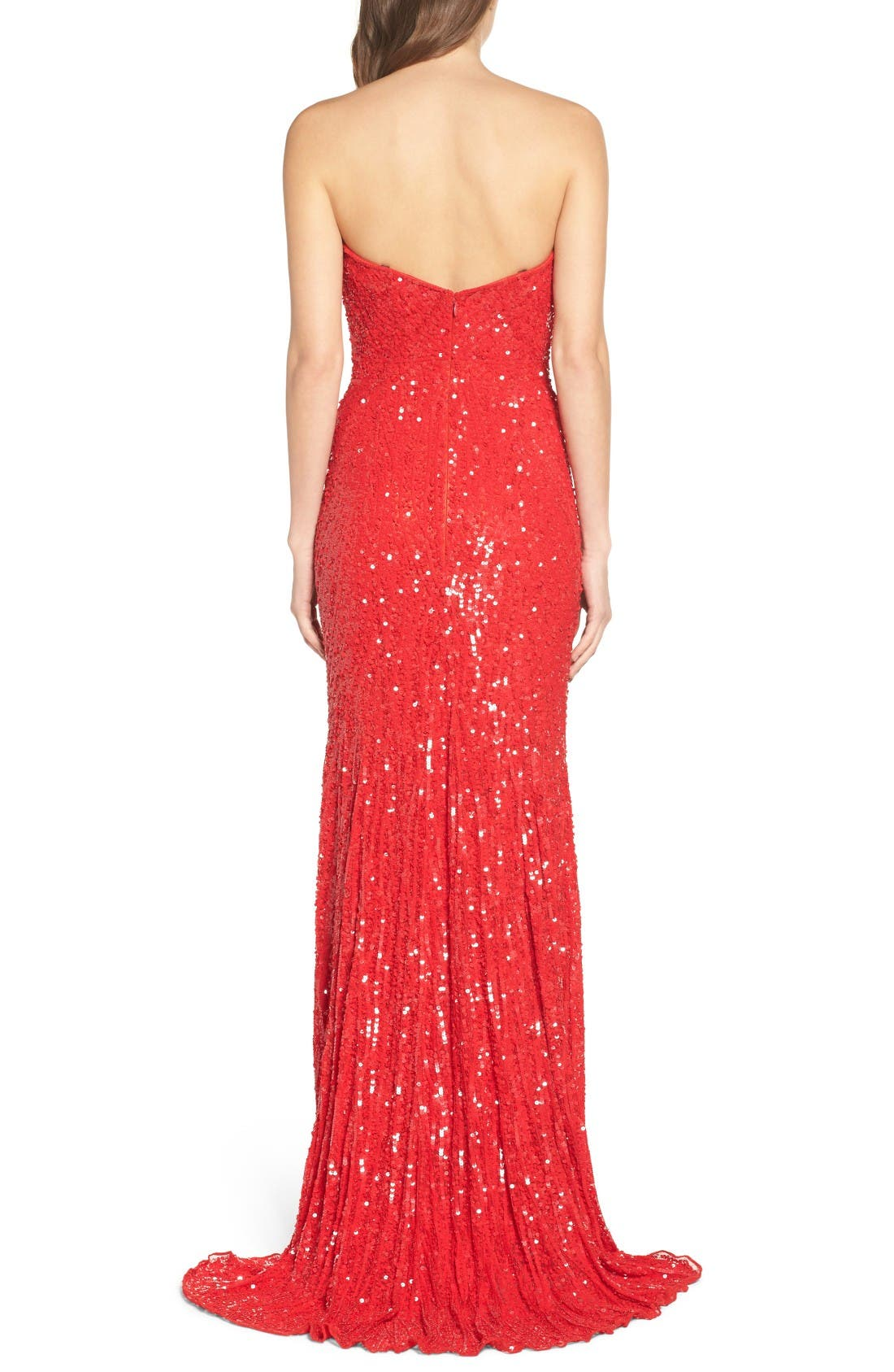 Alternate Image 2  - Mac Duggal Front Slit Sequin Strapless Gown