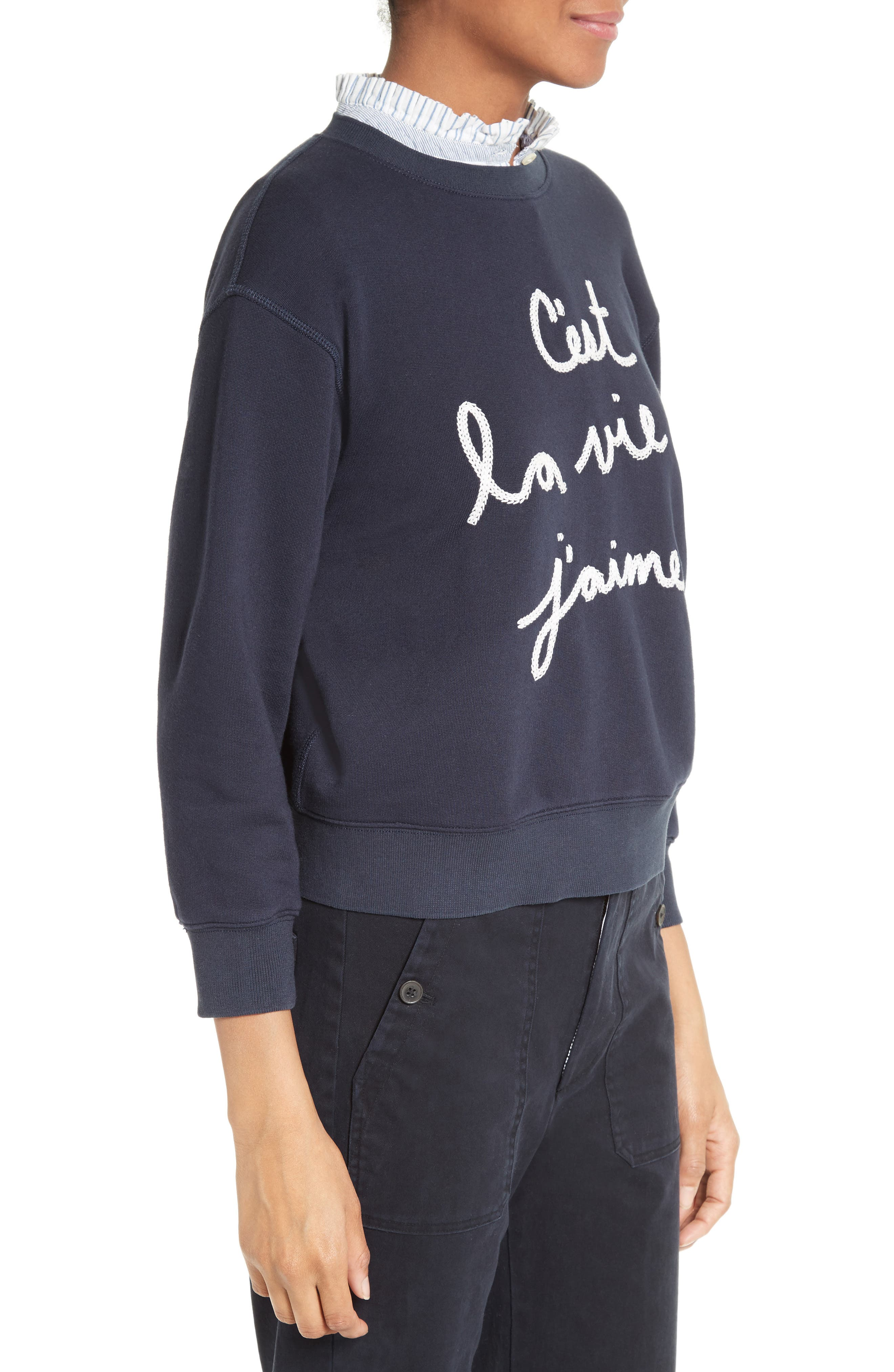Alternate Image 4  - La Vie Rebecca Taylor Logo Embroidered French Terry Pullover