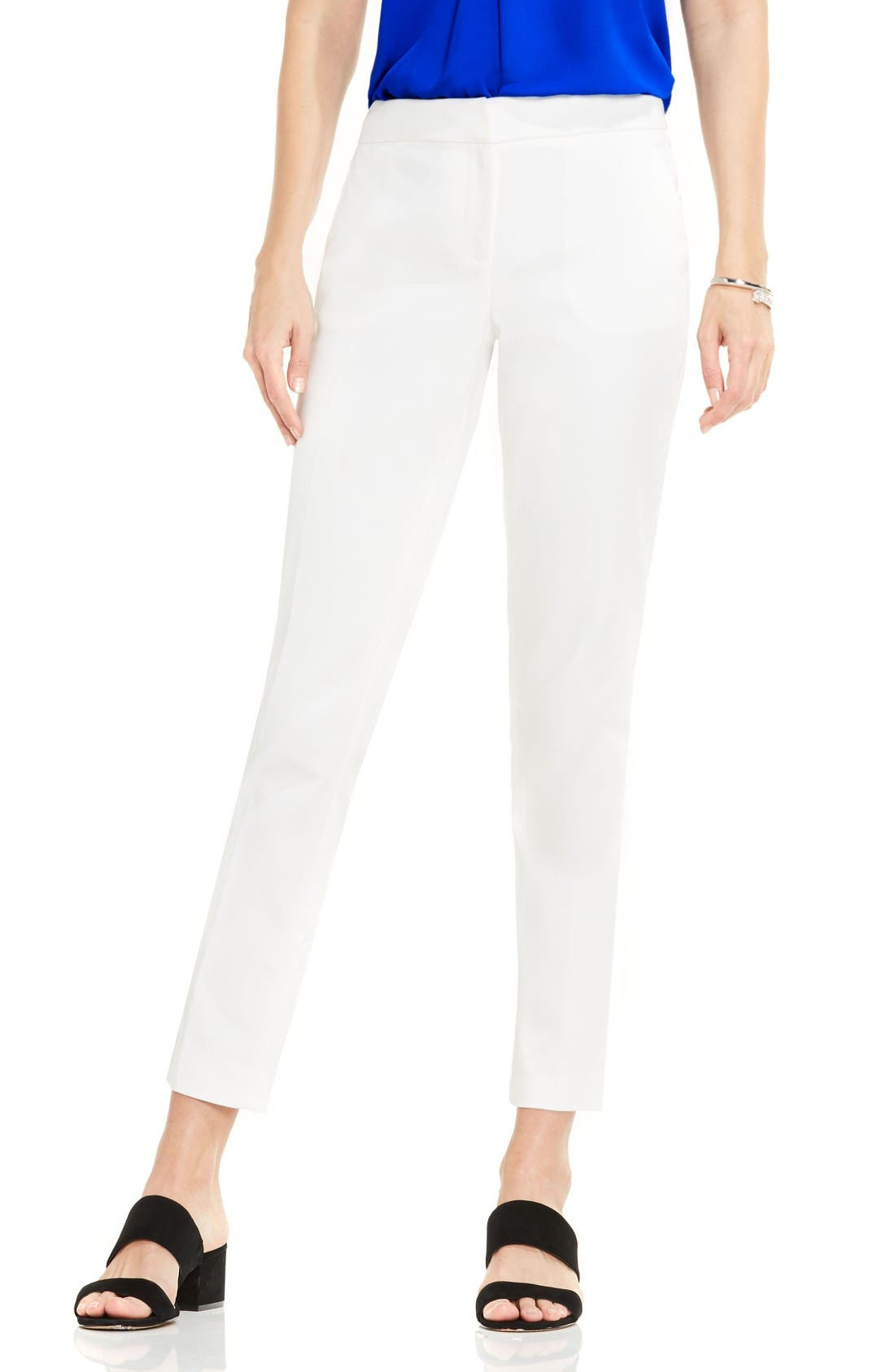 Alternate Image 1 Selected - Vince Camuto Double Weave Cotton Blend Ankle Pants (Regular & Petite)