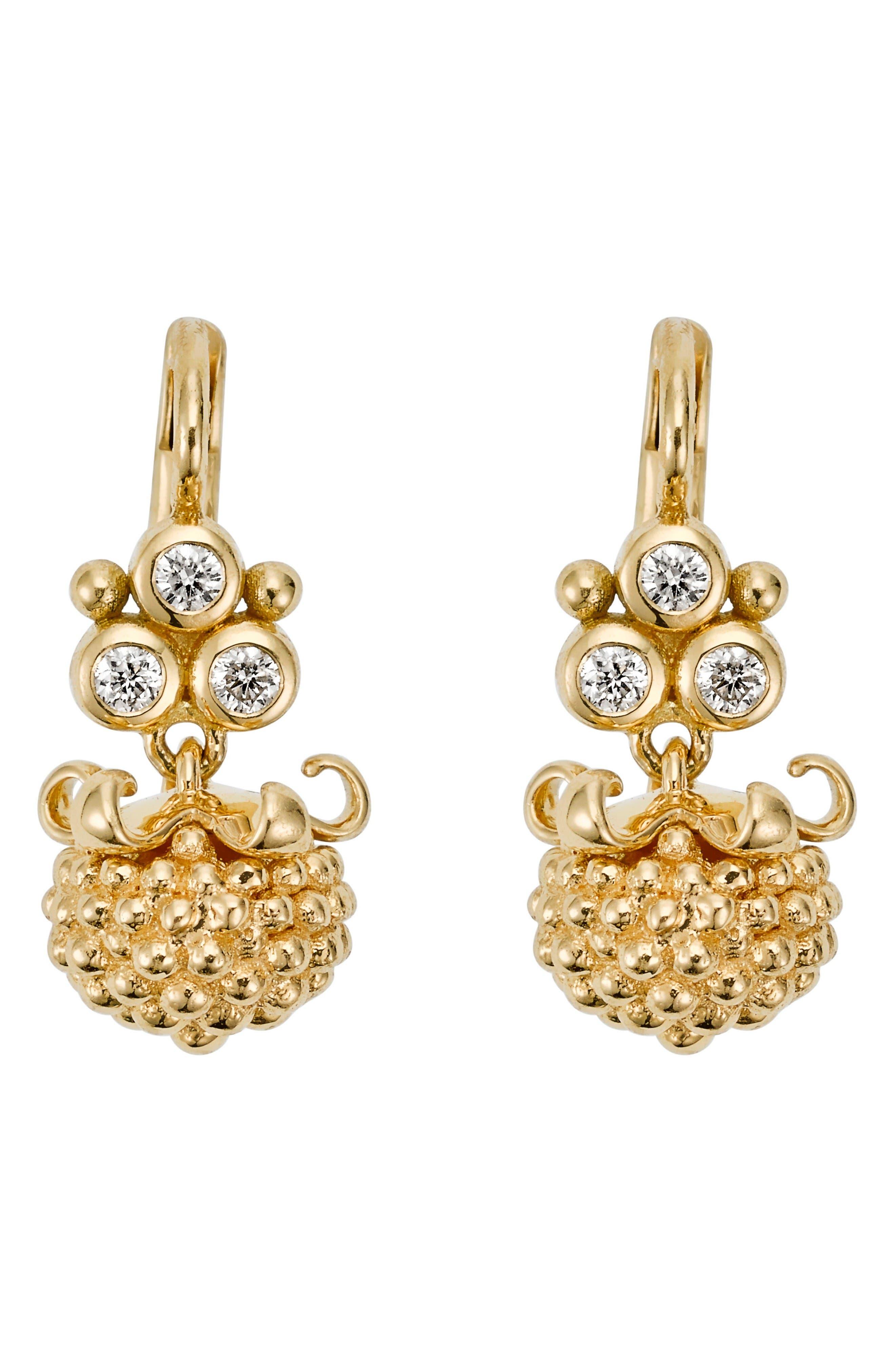 Temple St. Clair Mini Pod Diamond Drop Earrings