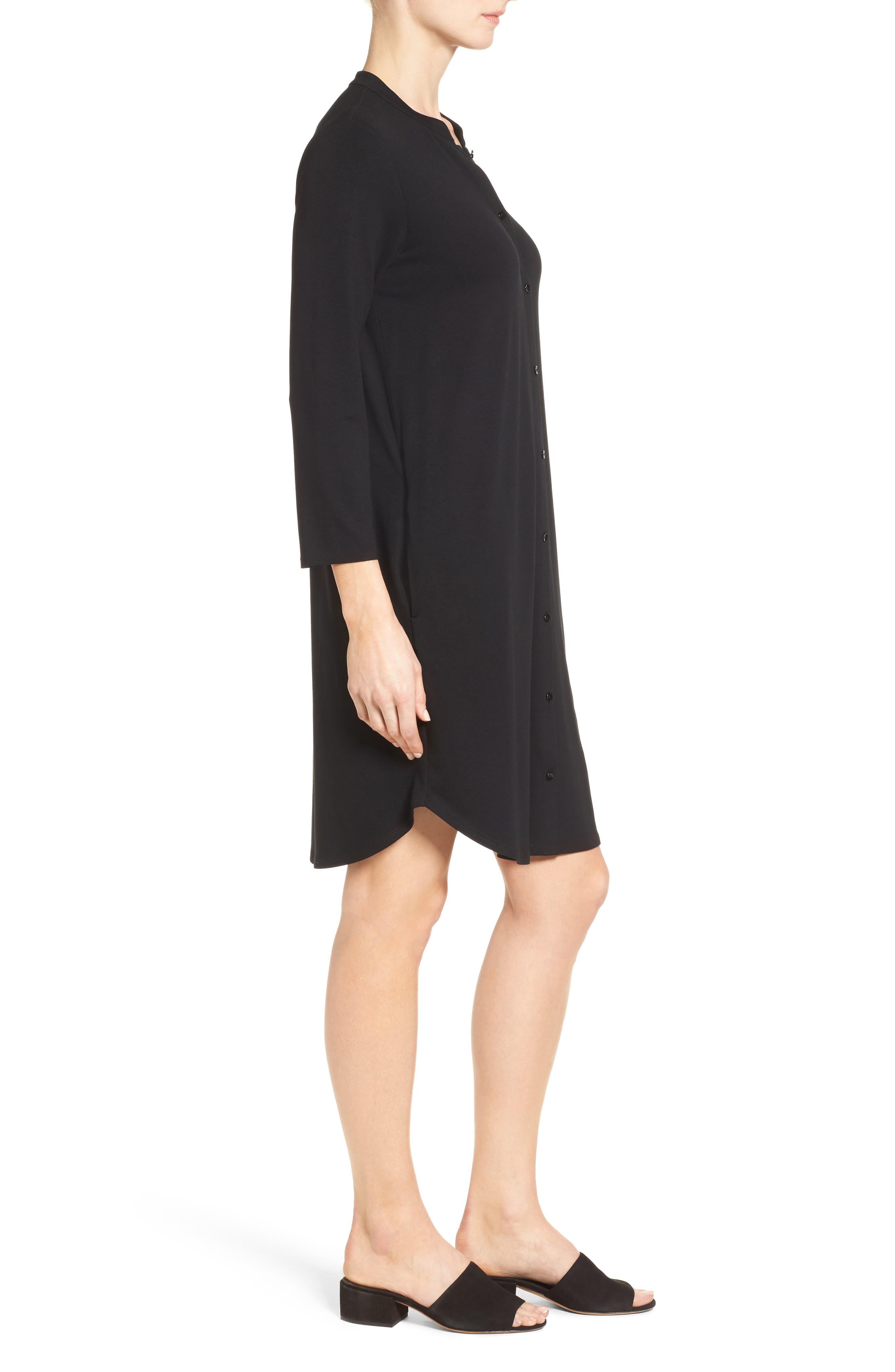 Alternate Image 3  - Eileen Fisher Mandarin Collar Jersey Shirtdress (Regular & Petite)