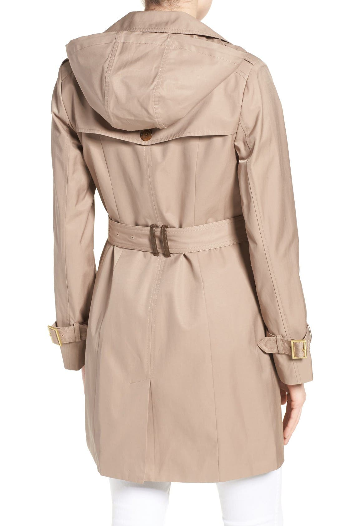 Alternate Image 2  - Cole Haan Signature Faux Leather Trim Trench Coat