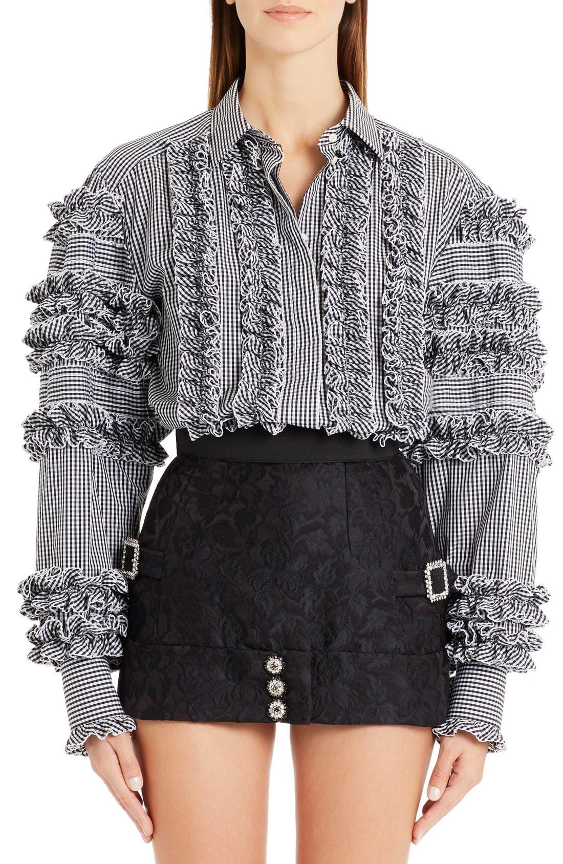 DOLCE&GABBANA Ruffle Gingham Shirt