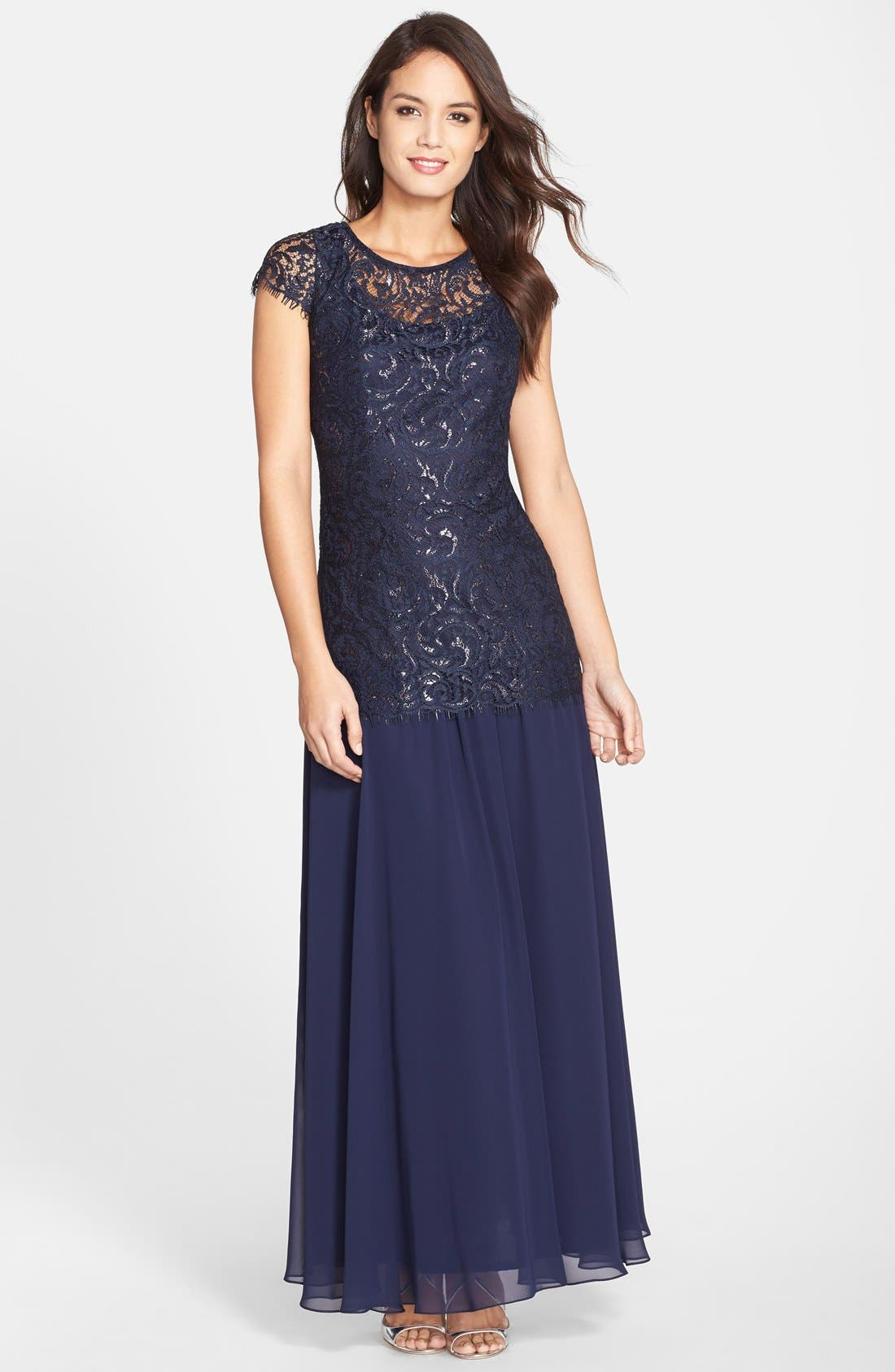 Alternate Image 1 Selected - Alex Evenings Metallic Lace & Chiffon Gown