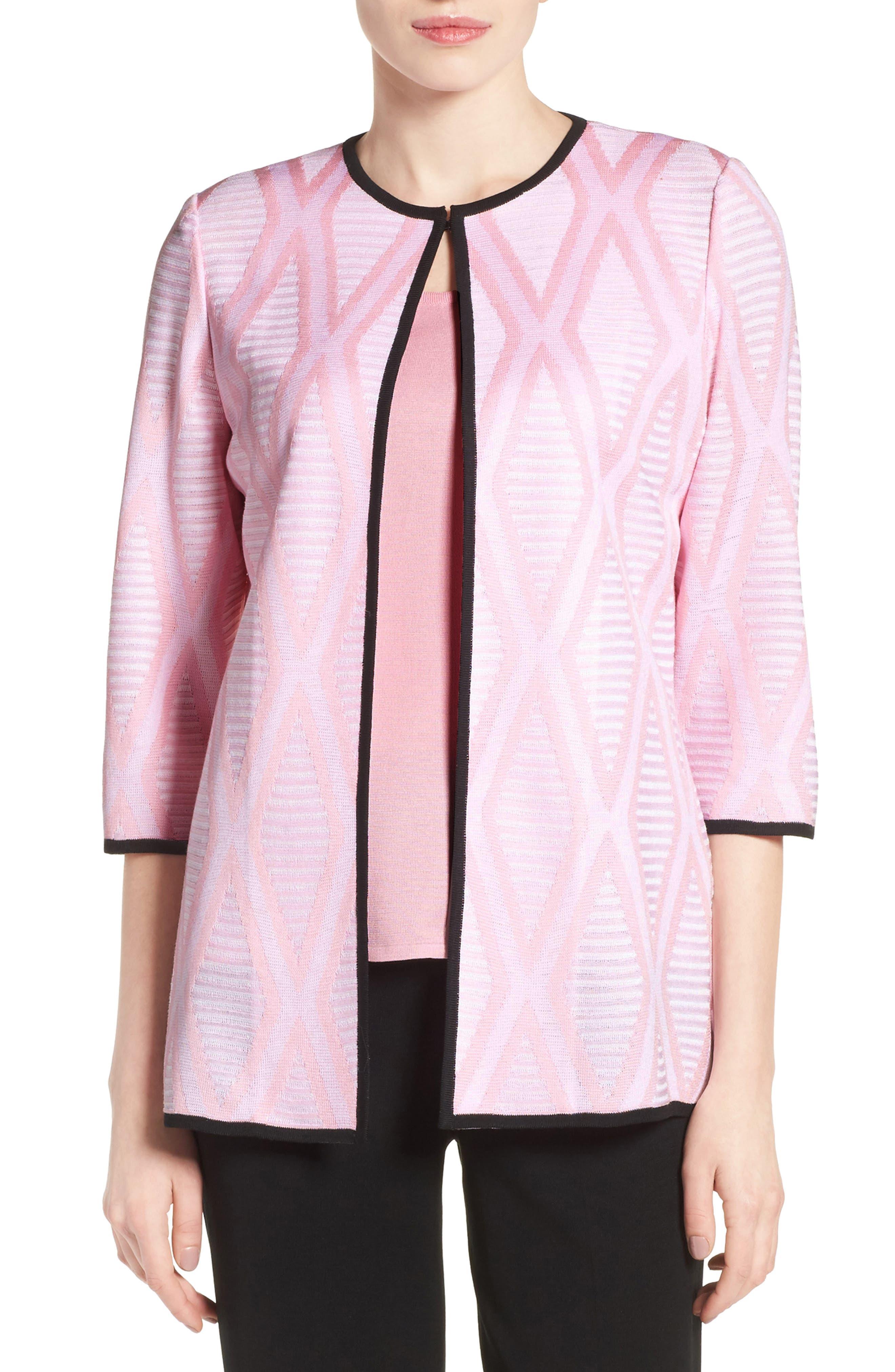 Ming Wang Contrast Trim Diamond Pattern Collarless Jacket