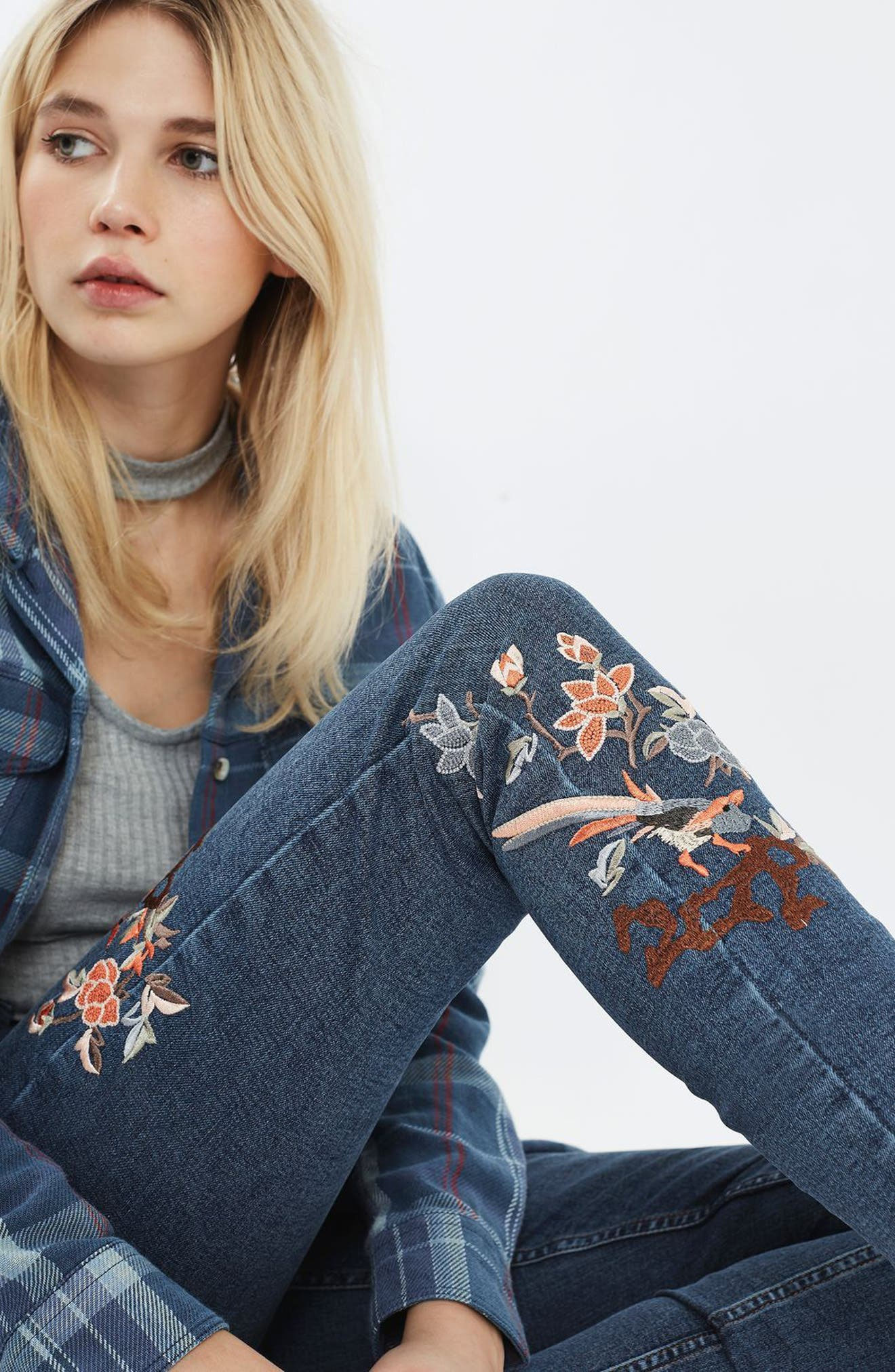 Alternate Image 5  - Topshop Jamie Embroidered Skinny Jeans (Tall)