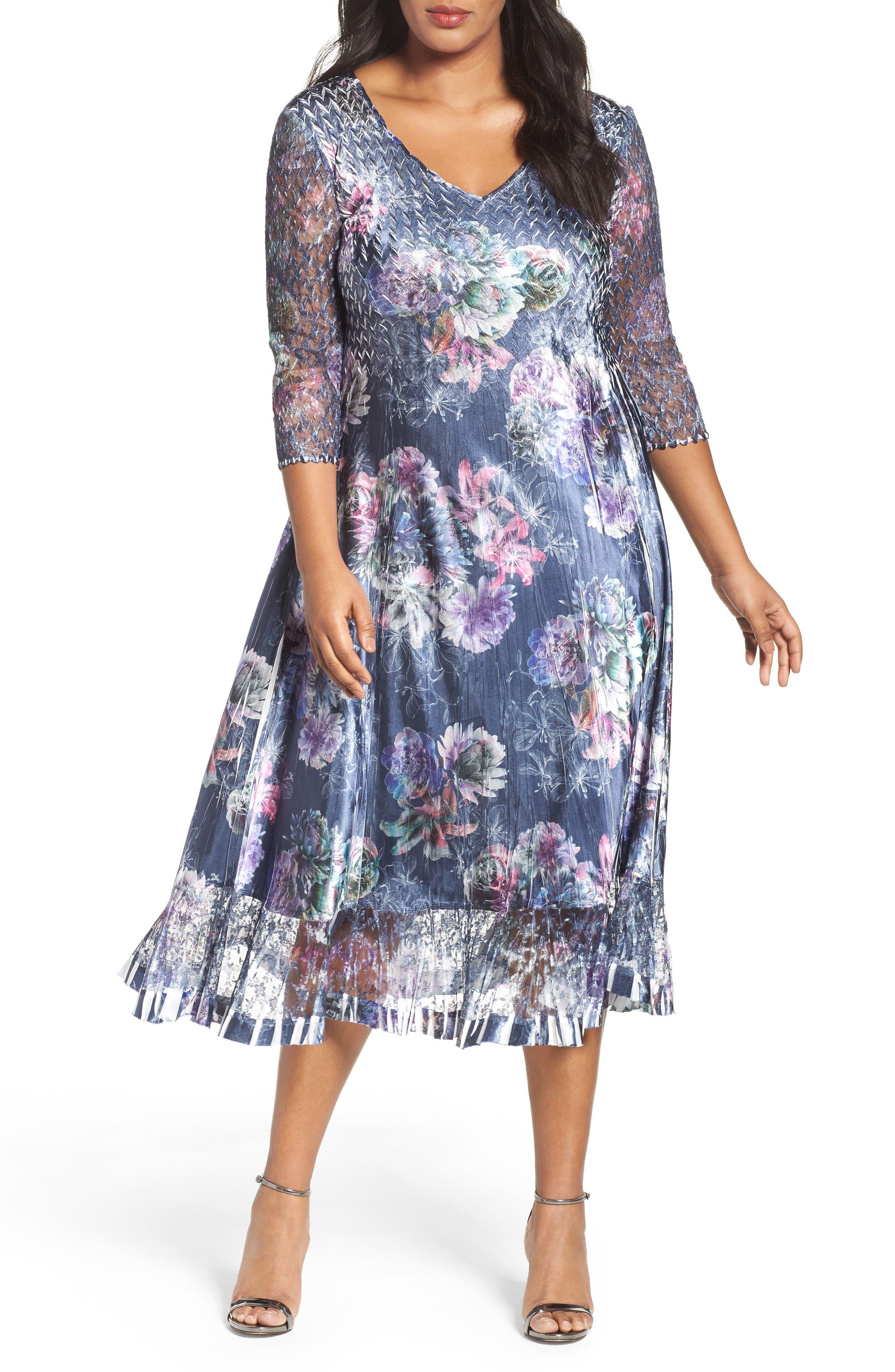 KOMAROV Lace & Charmeuse Dress