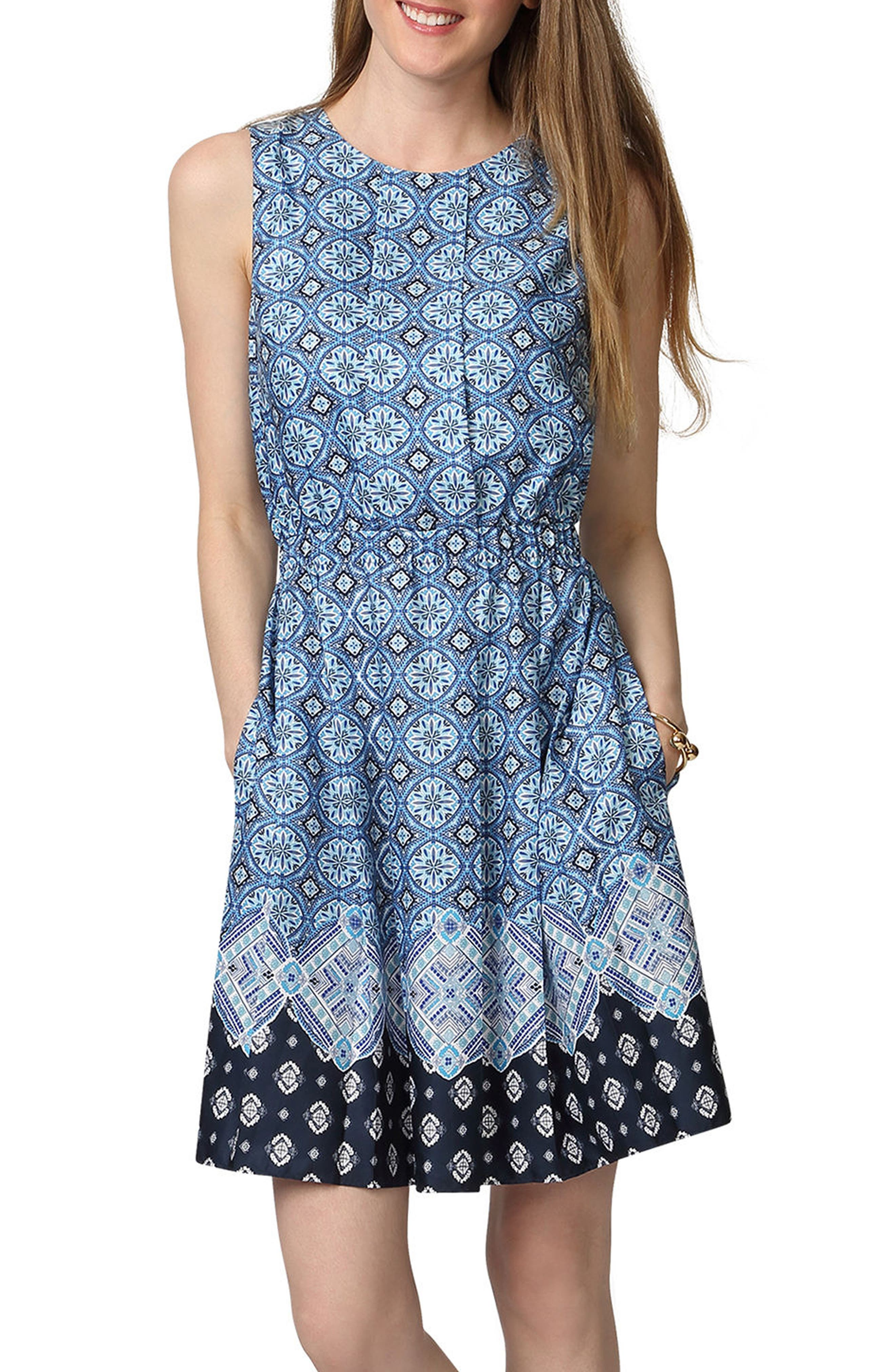 Donna Morgan Border Print Fit & Flare Dress
