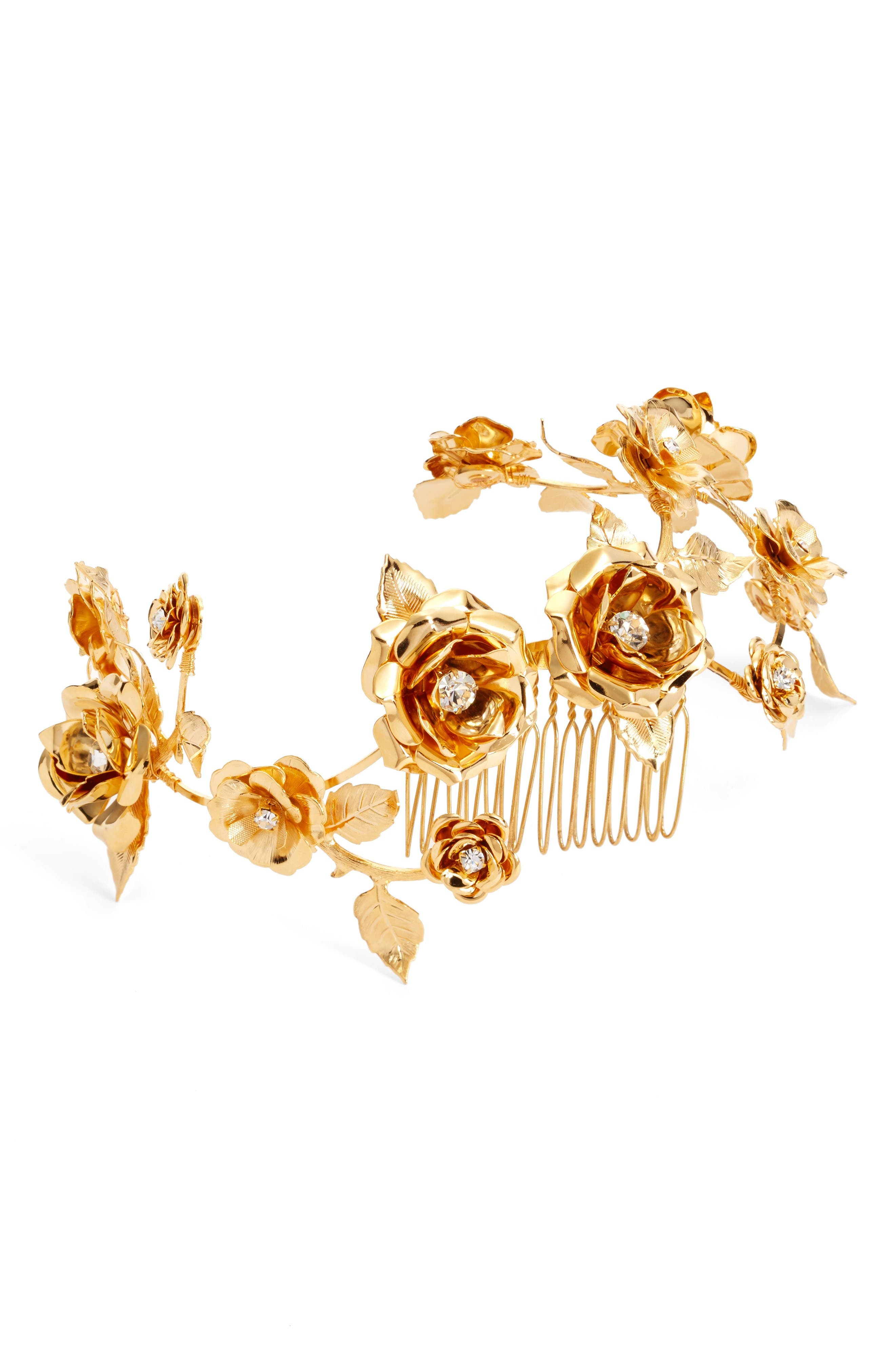 Alternate Image 1 Selected - twigs & honey Climbing Rose Vine & Leaf Headpiece