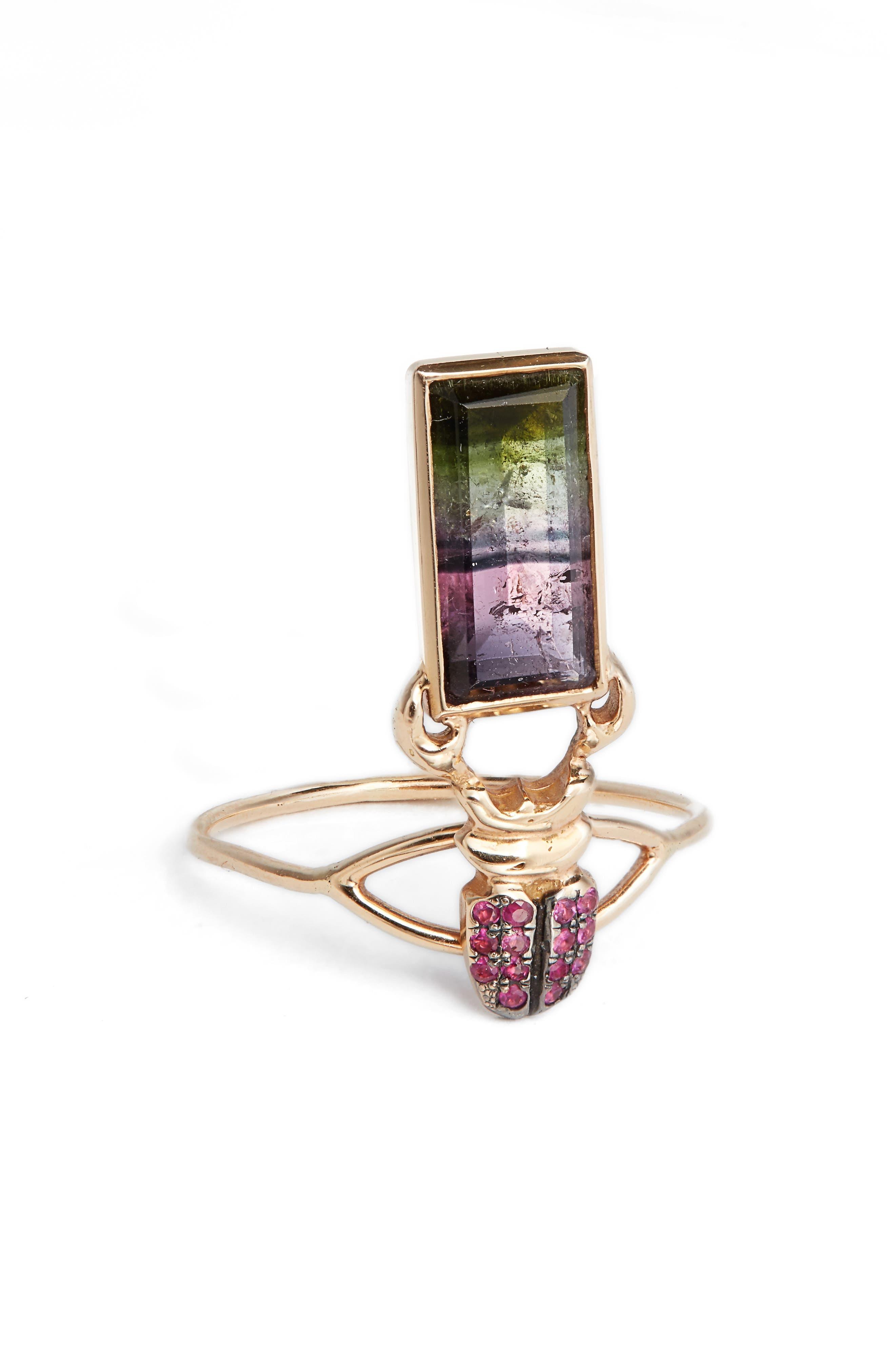 DANIELA VILLEGAS Khepri Ruby & Watermelon Tourmaline Ring