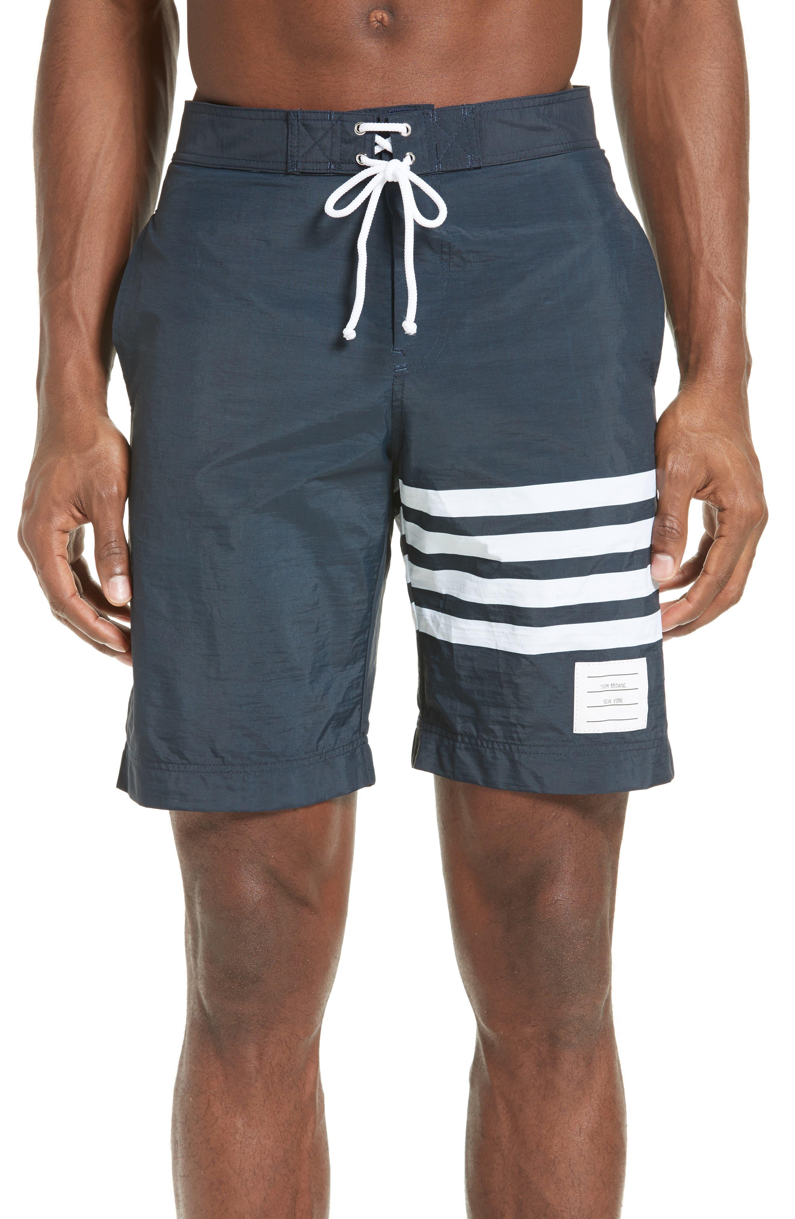 Thom Browne 4-Bar Print Tech Board Shorts