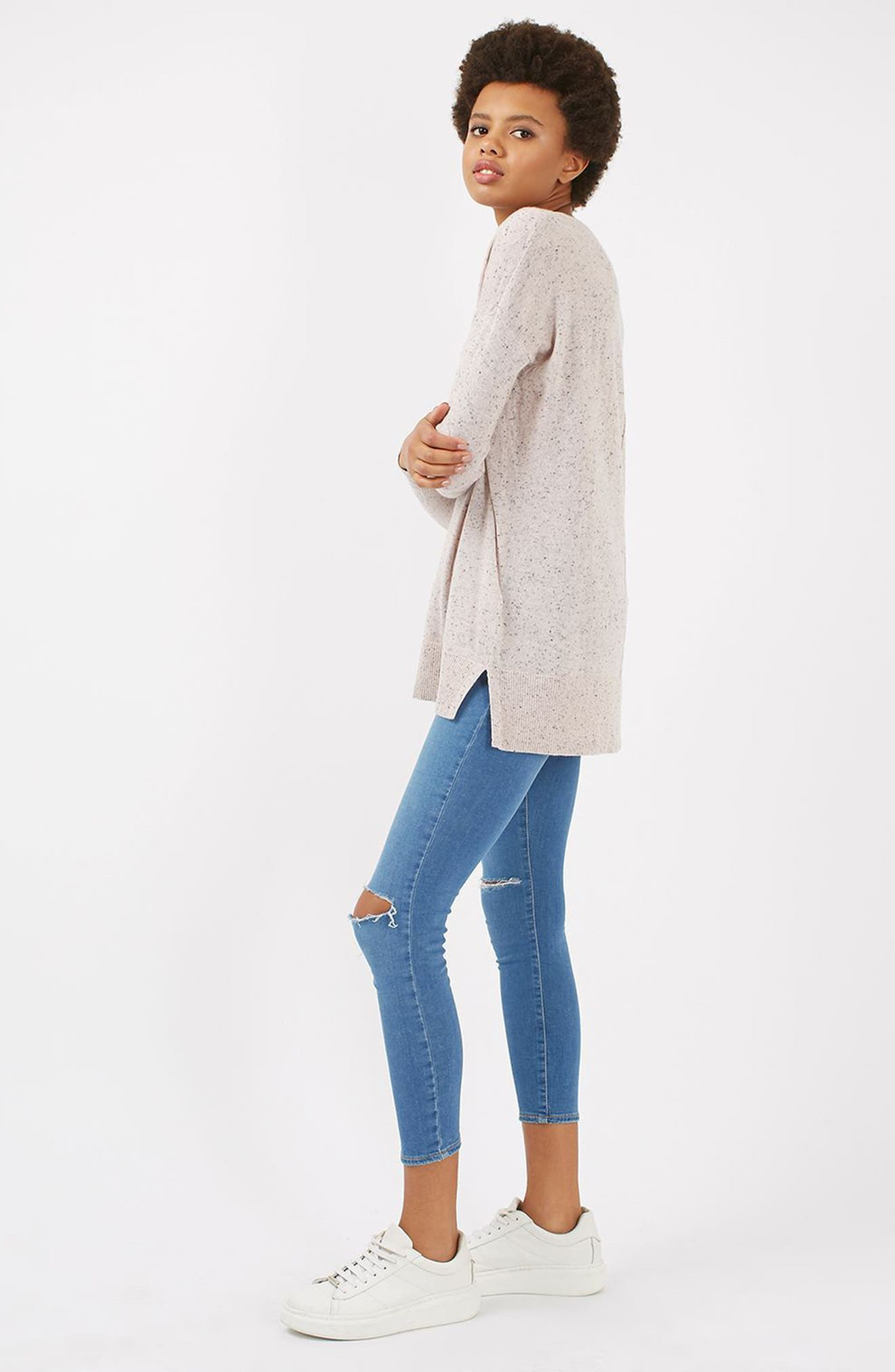 Alternate Image 2  - Topshop Lace V-Neck Sweater Tunic