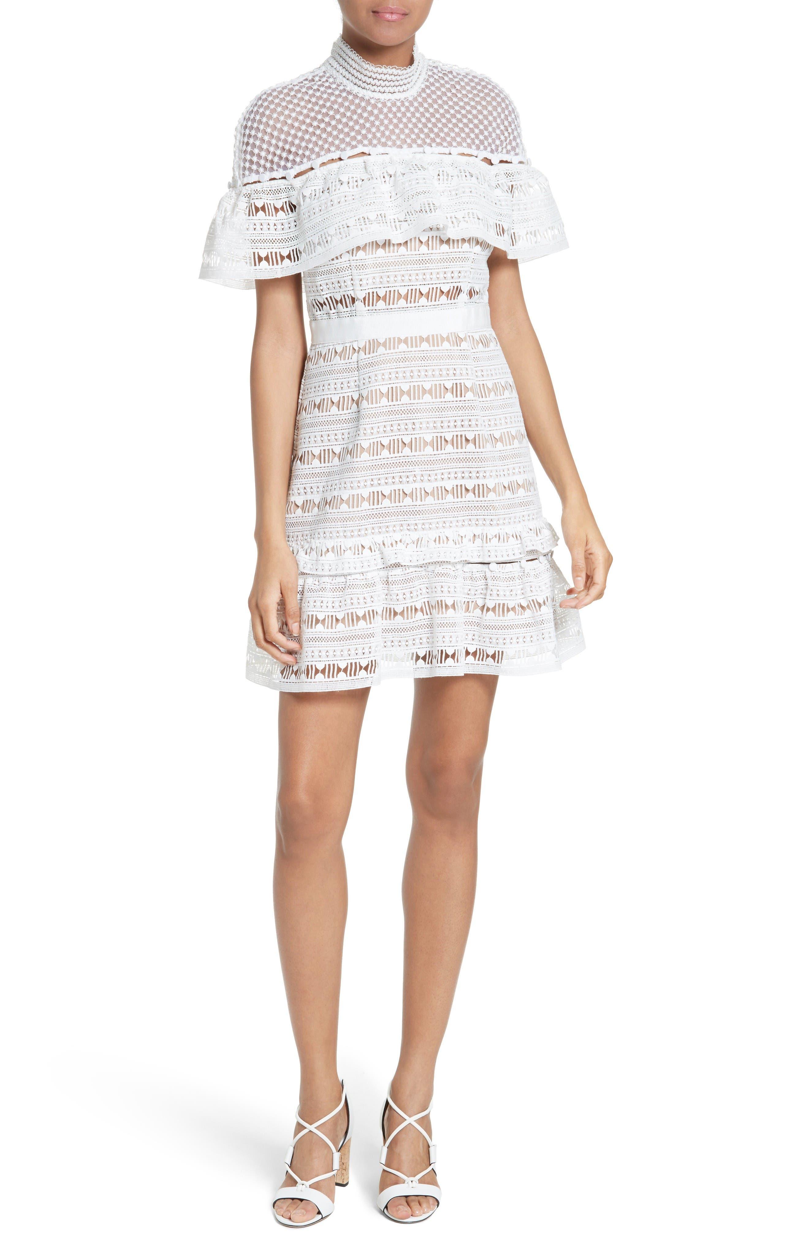 Alternate Image 1 Selected - Self-Portrait Ruffle Sleeve Lace Dress