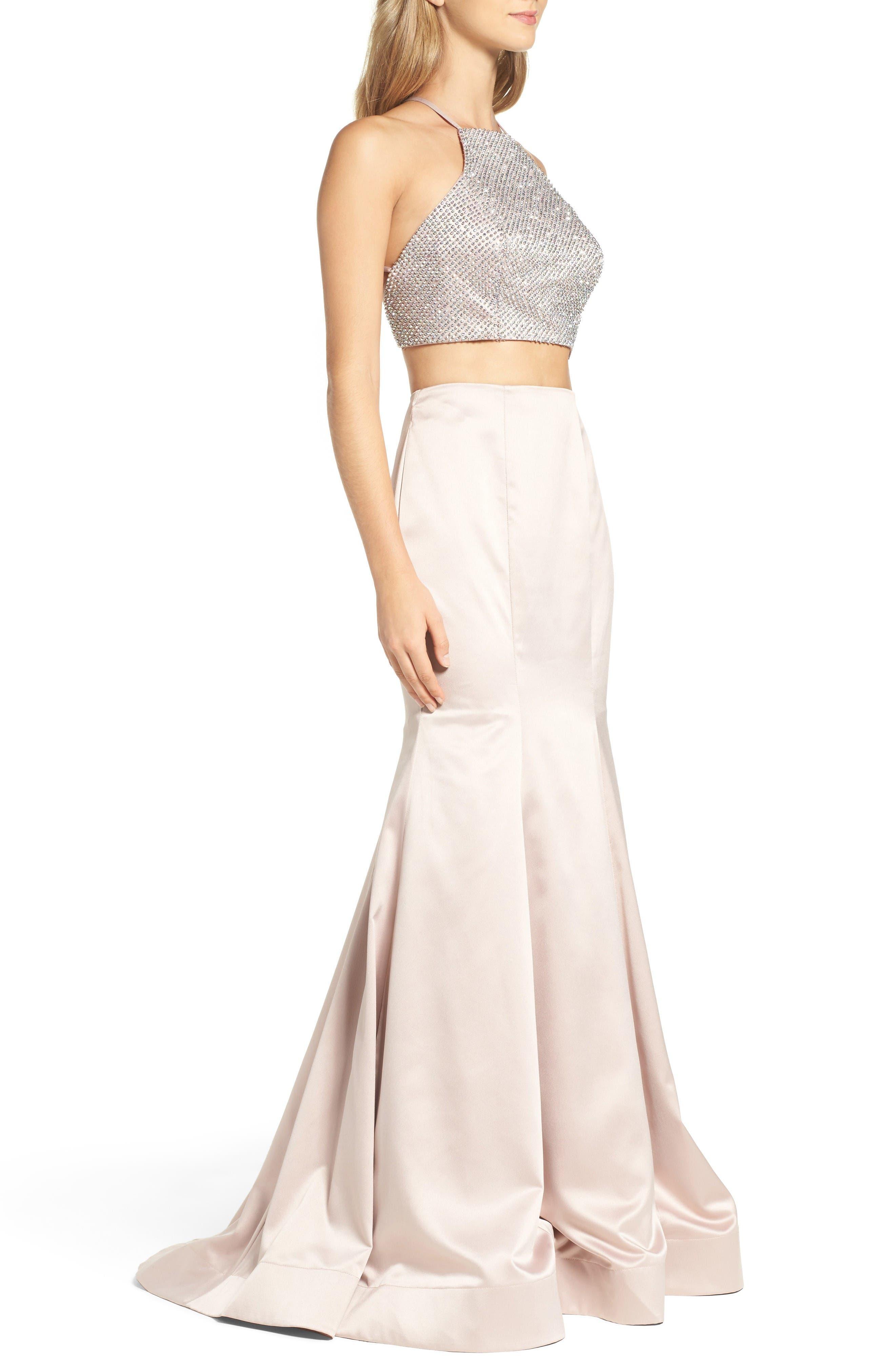 Alternate Image 3  - La Femme Beaded Two-Piece Mermaid Gown