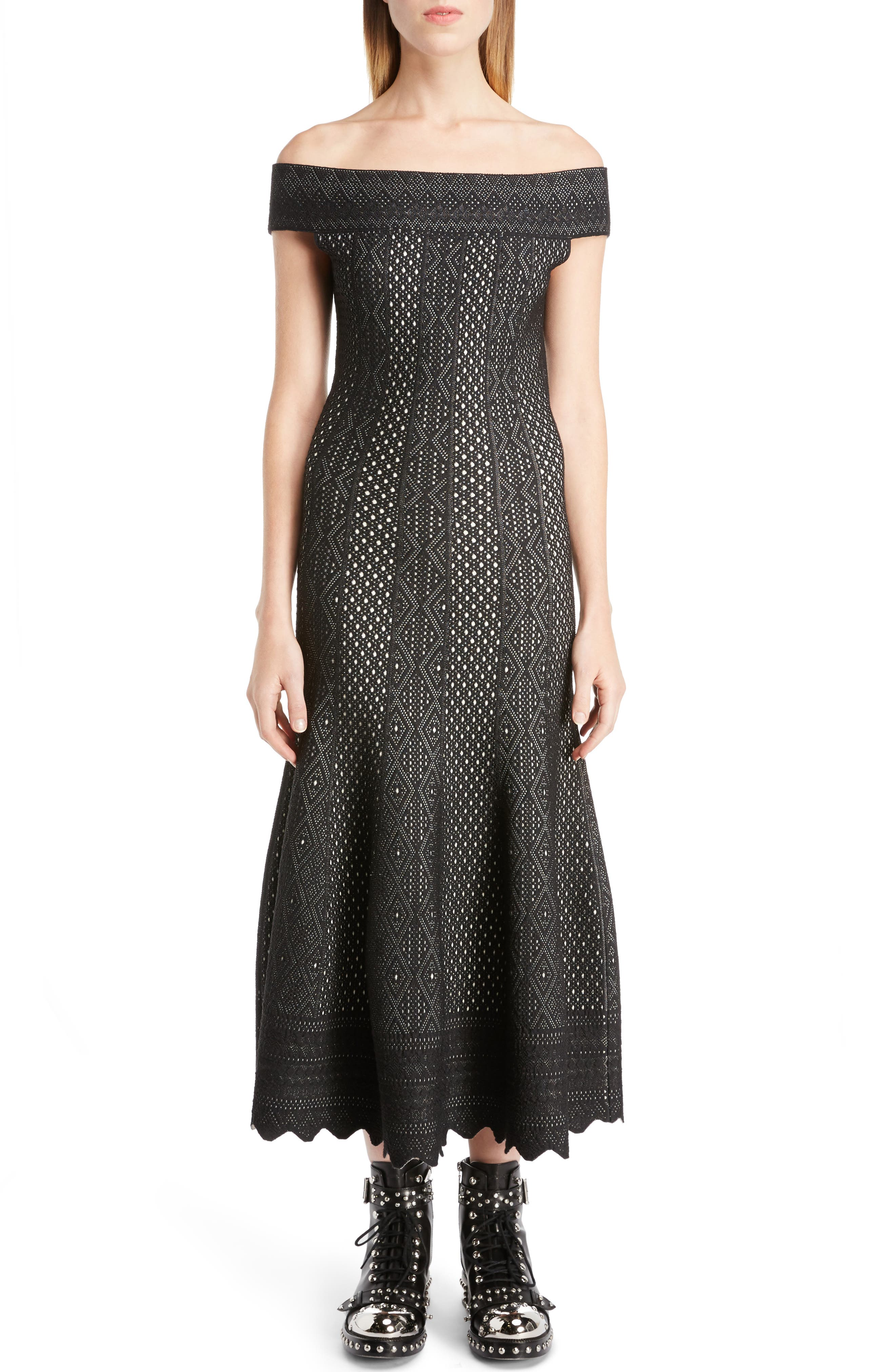Alternate Image 1 Selected - Alexander McQueen Off the Shoulder Bicolor Jacquard Dress