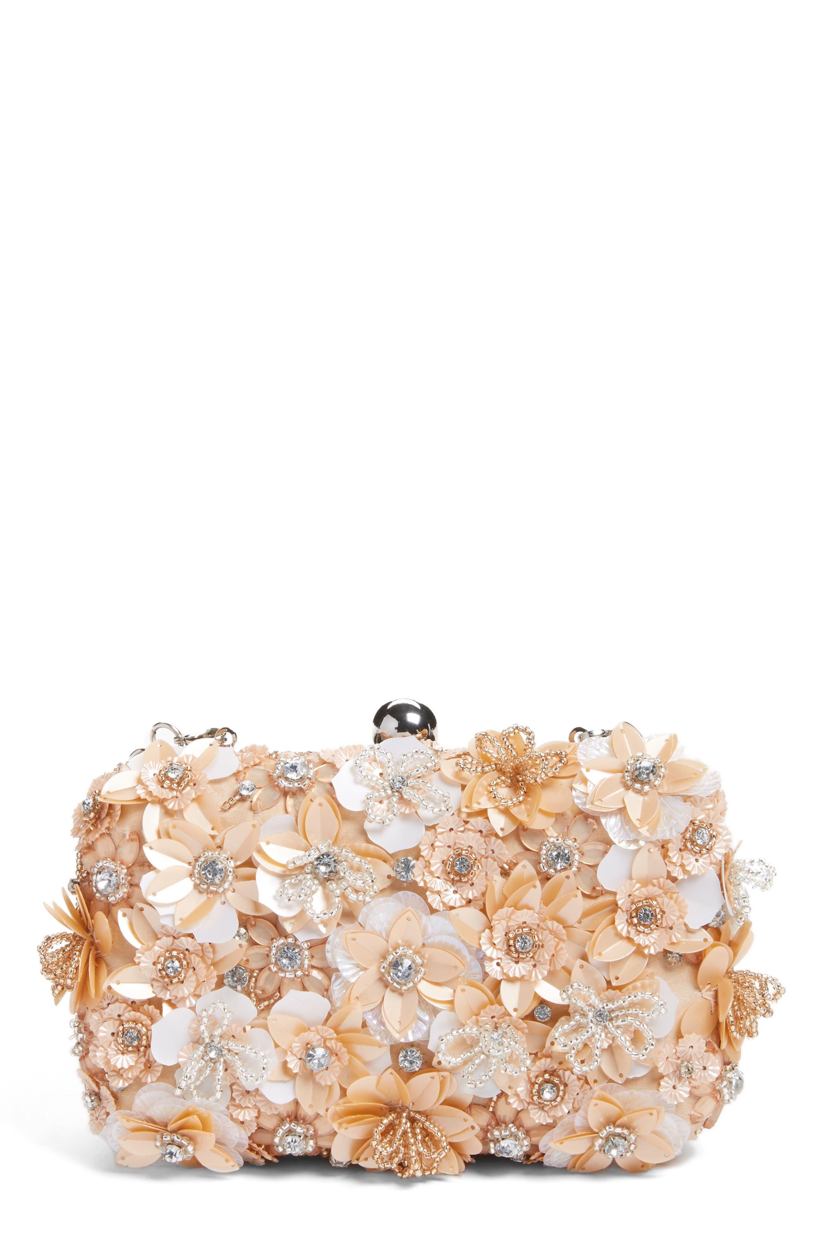 Main Image - Glint Floral Appliqué Minaudière