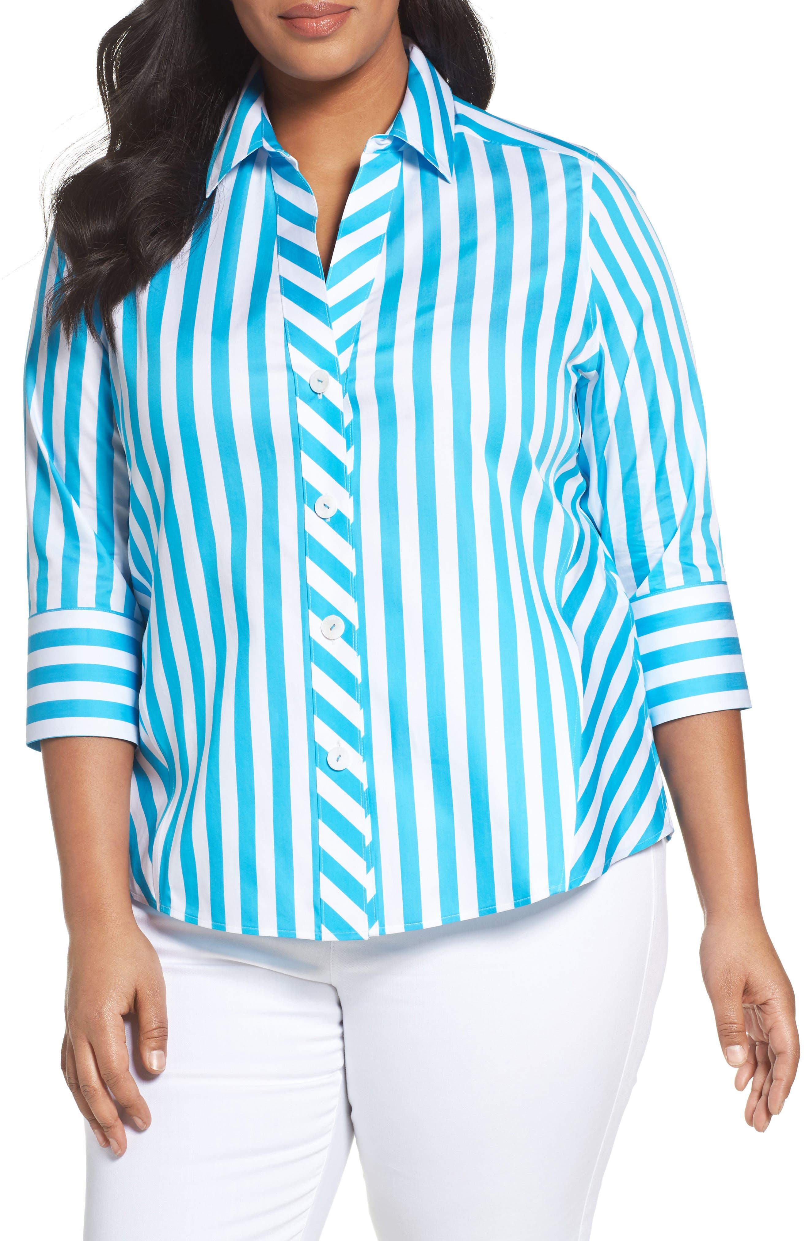 FOXCROFT Awning Stripe Non-Iron Cotton Shirt