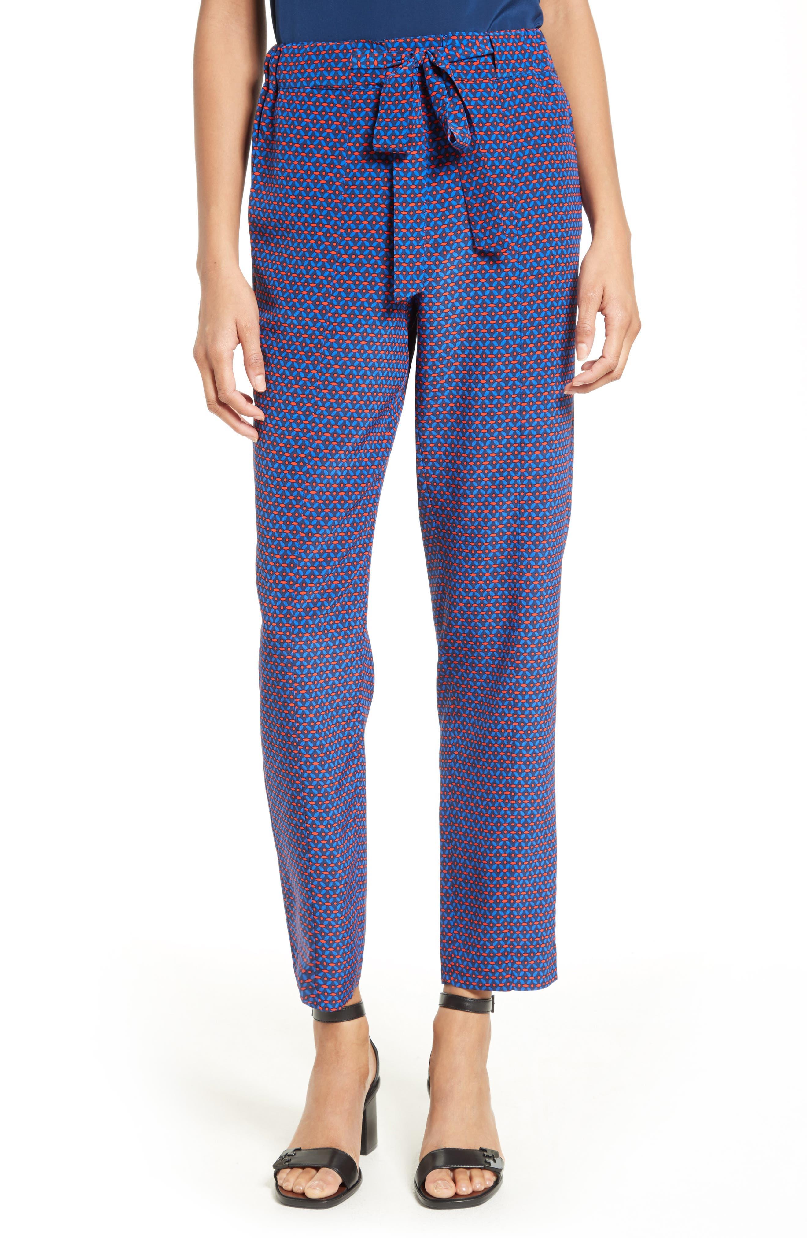 Tory Burch Talia Print Tie Front Pants
