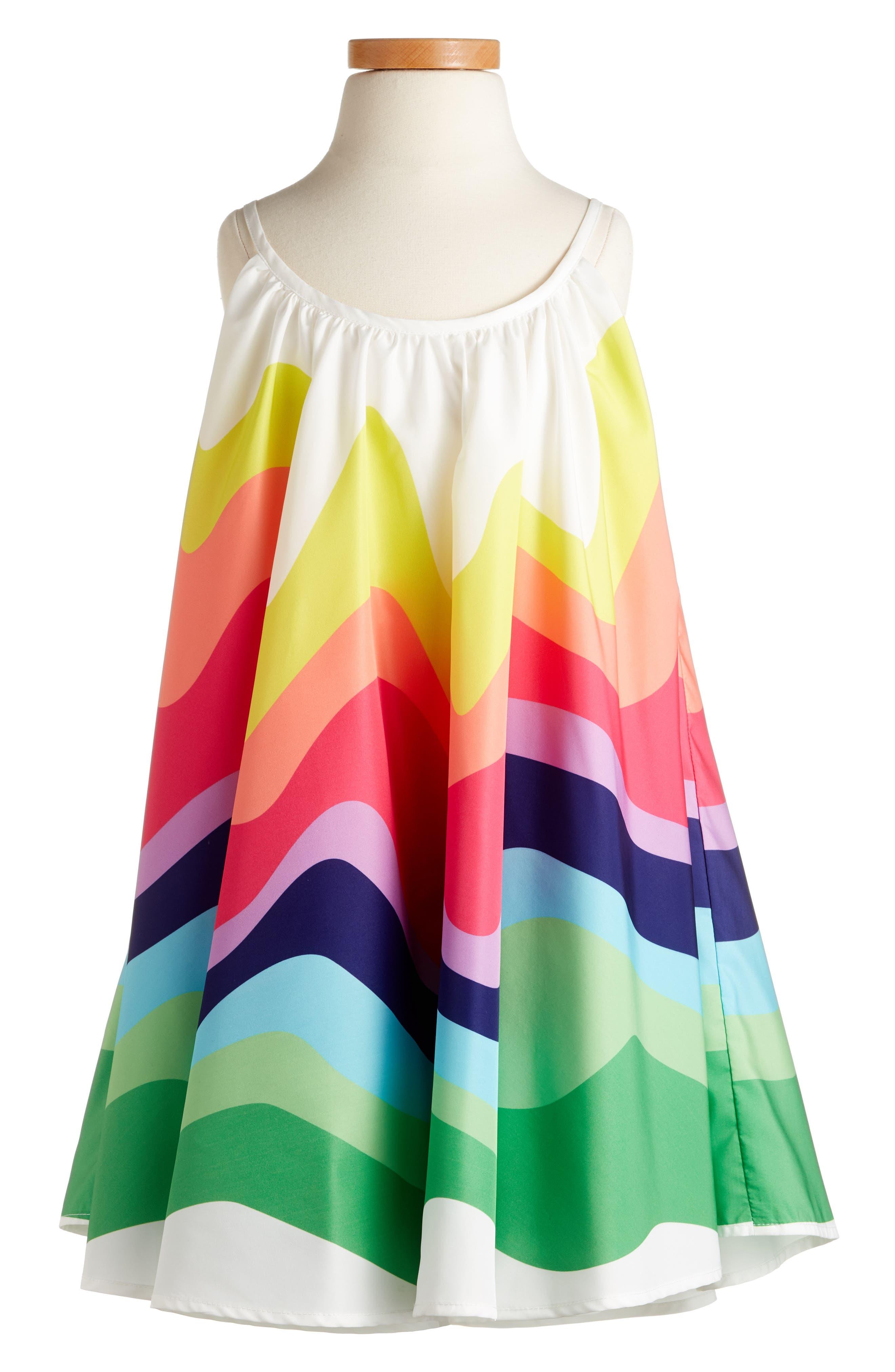Halabaloo Rainbow Wave Dress (Toddler Girls, Little Girls & Big Girls)