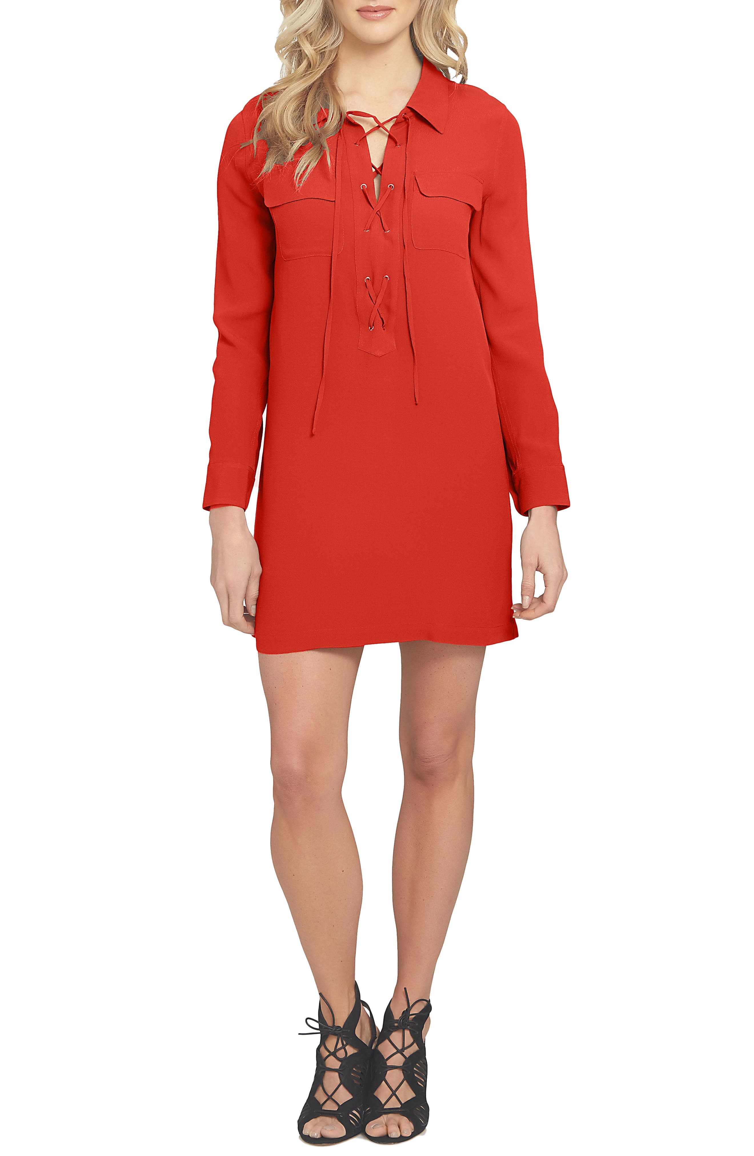 1.STATE Lace-Up Shirtdress