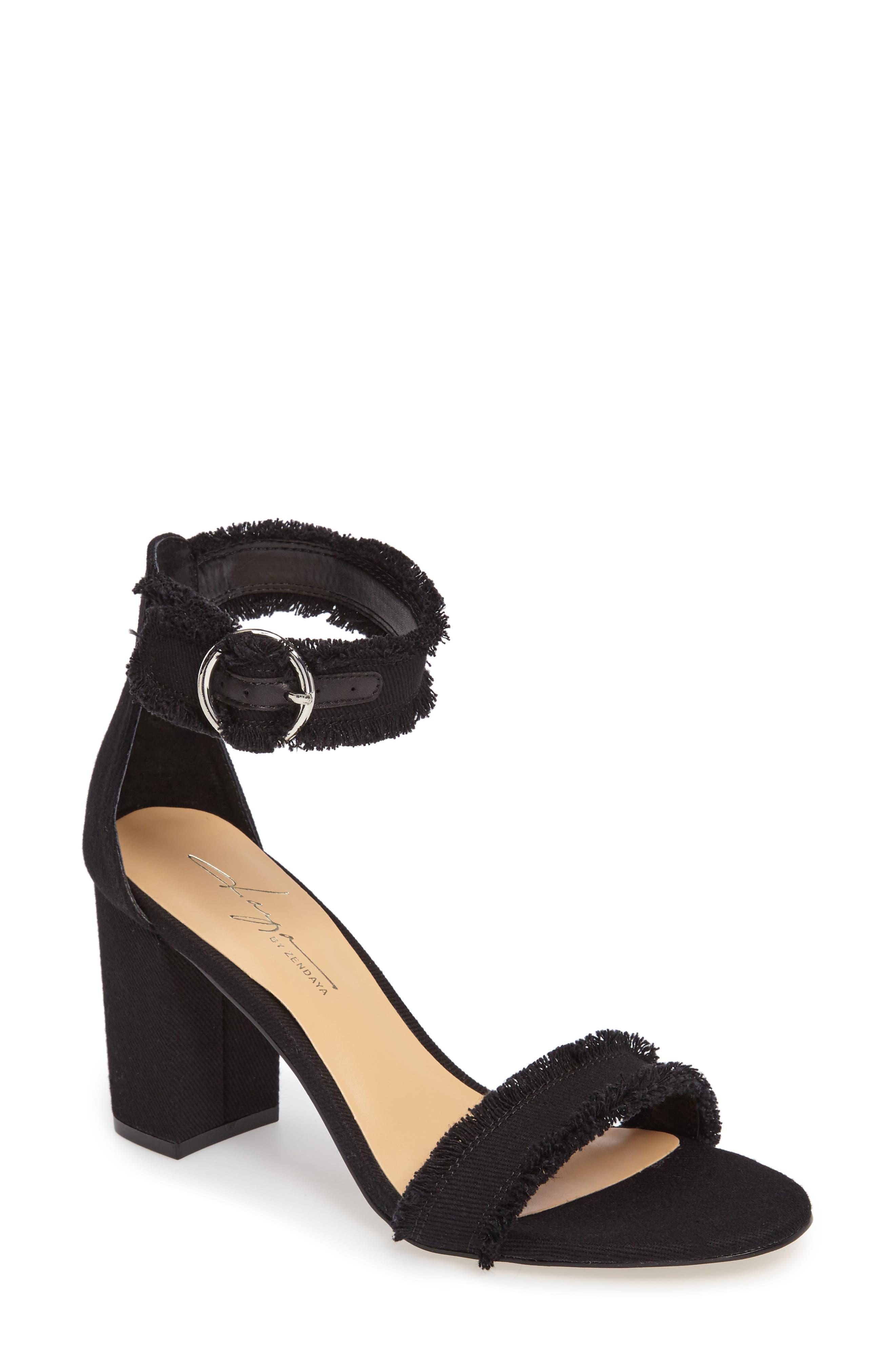 by Zendaya Shasta Fringe Denim Ankle Strap Sandal
