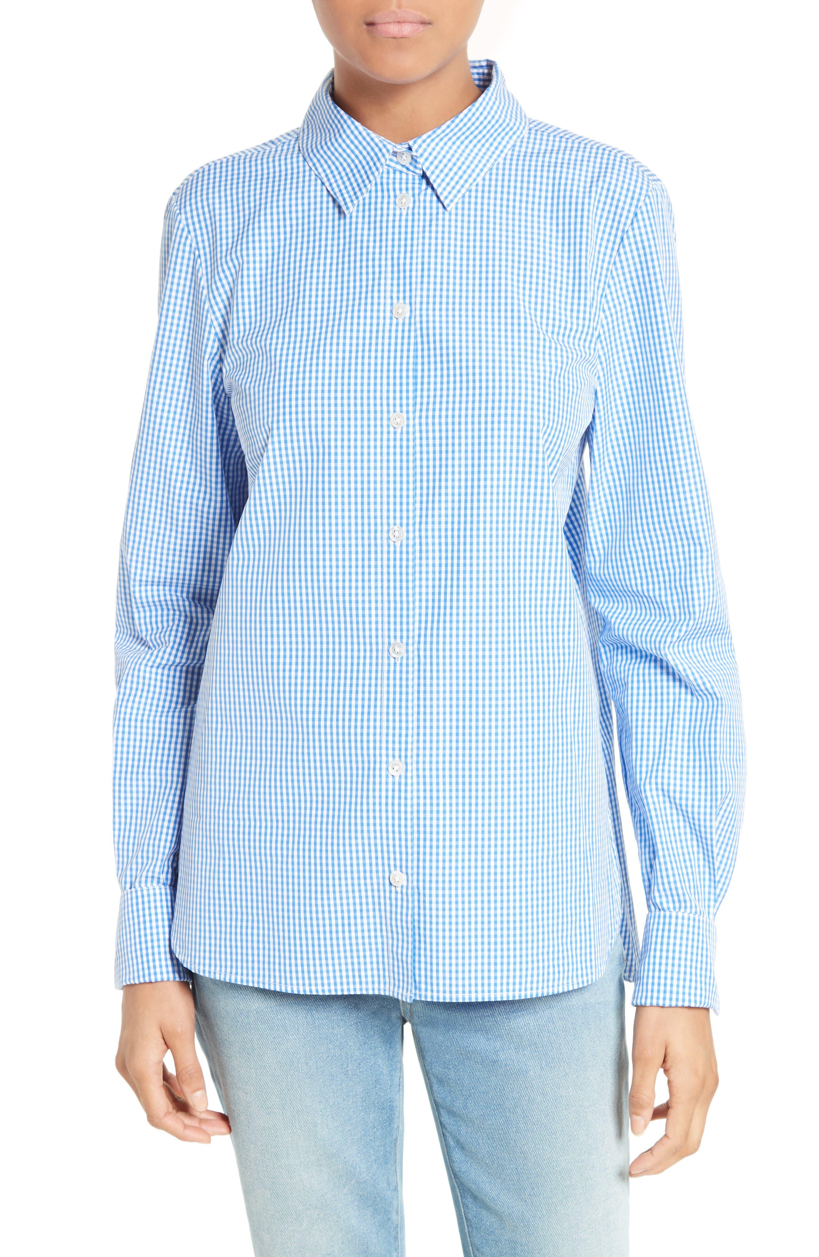 Tibi Gingham Cotton Slim Fit Shirt