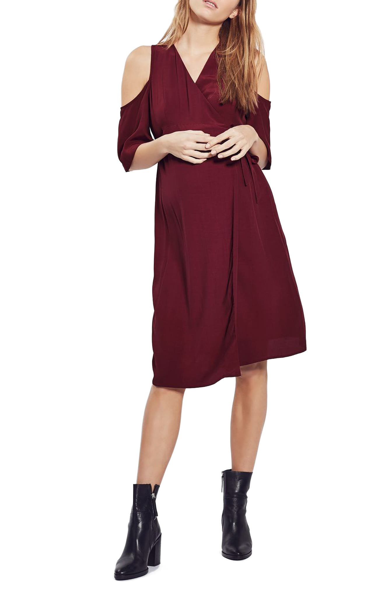 Main Image - Topshop Cold Shoulder Wrap Maternity Dress