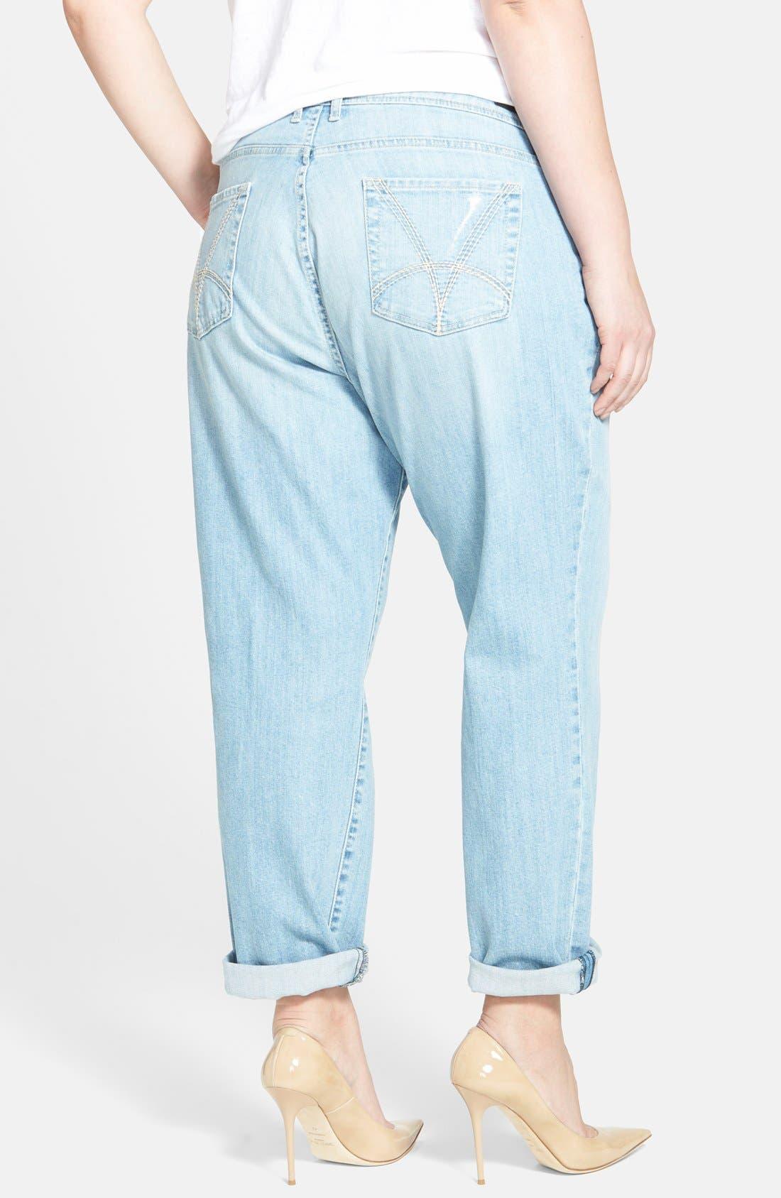 Alternate Image 2  - KUT from the Kloth Distressed Boyfriend Jeans (Slick) (Plus Size)