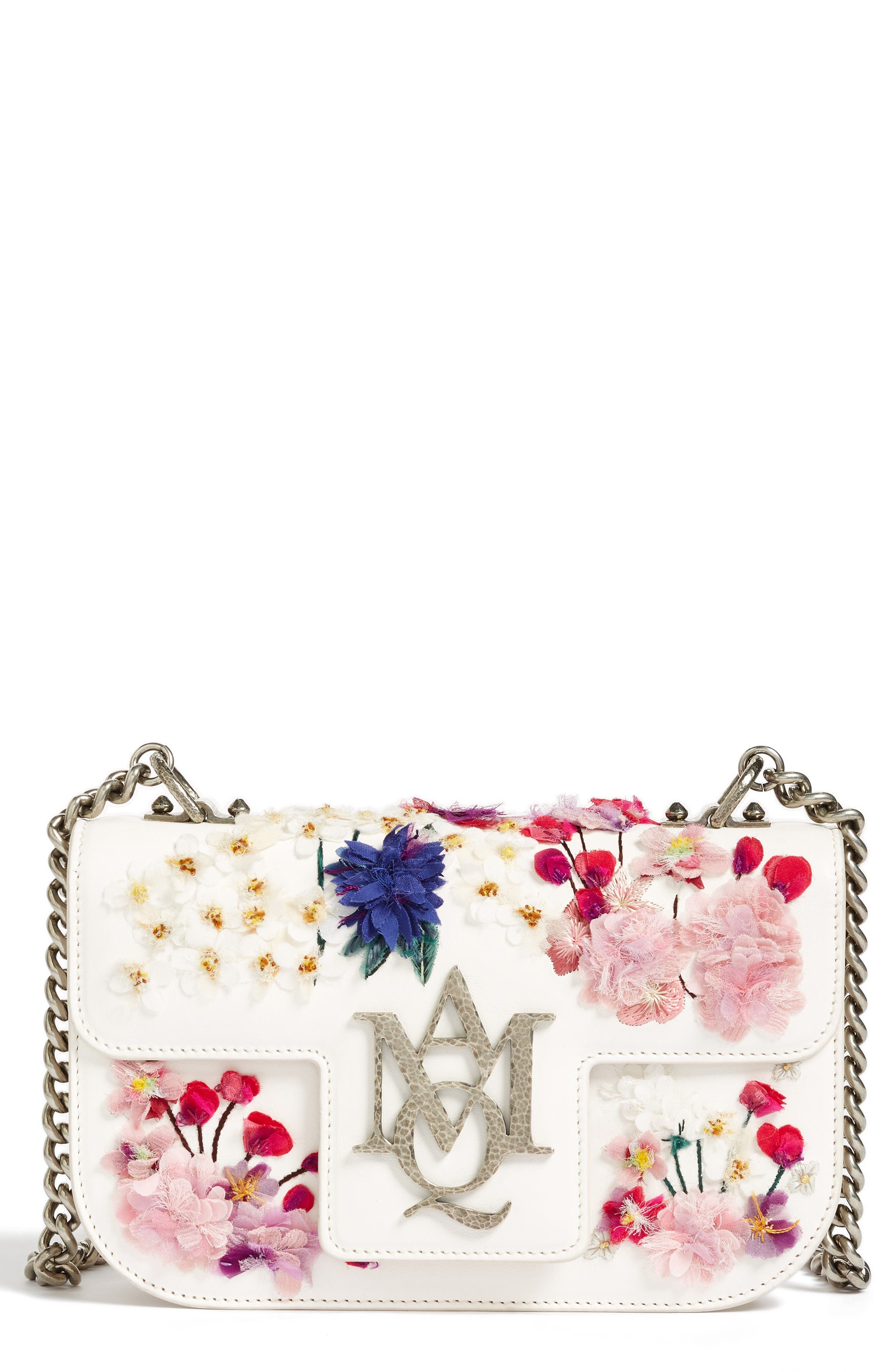 Alternate Image 1 Selected - Alexander McQueen Small Insignia Leather Shoulder Bag