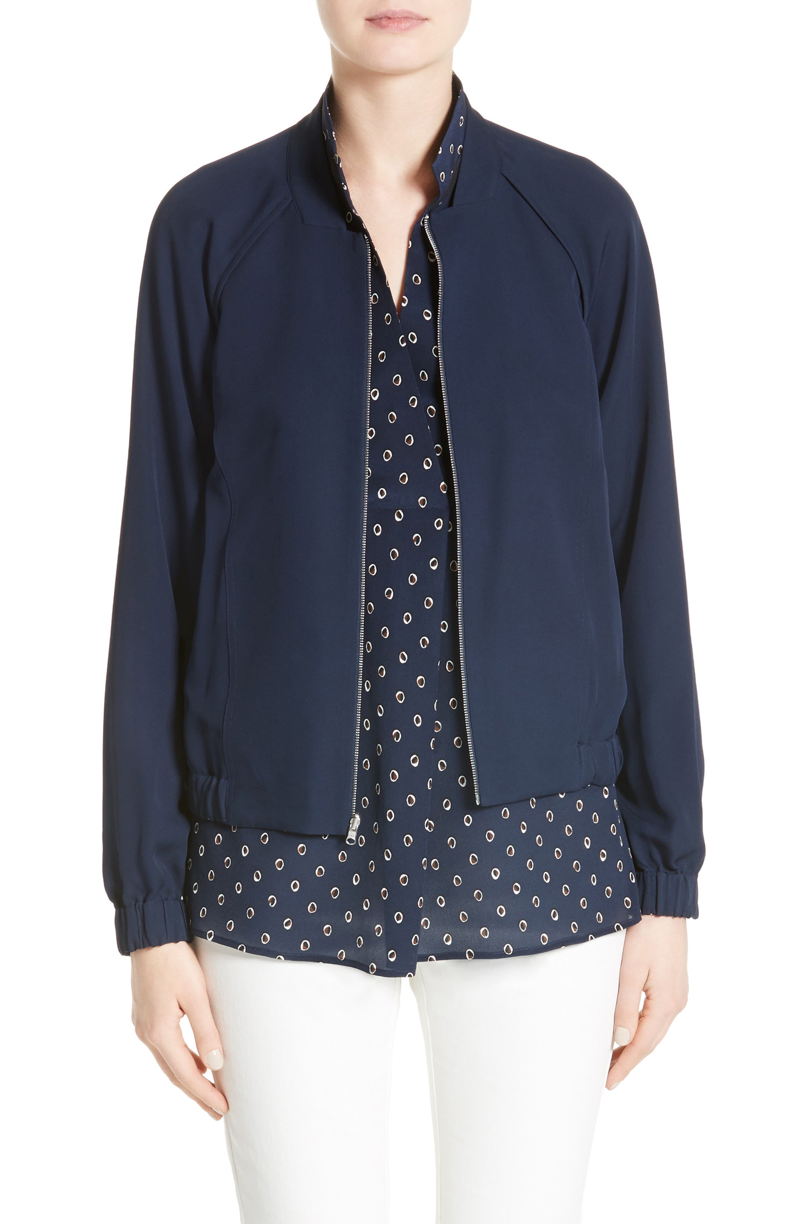 LAFAYETTE 148 NEW YORK Irelyn Reversible Silk Bomber