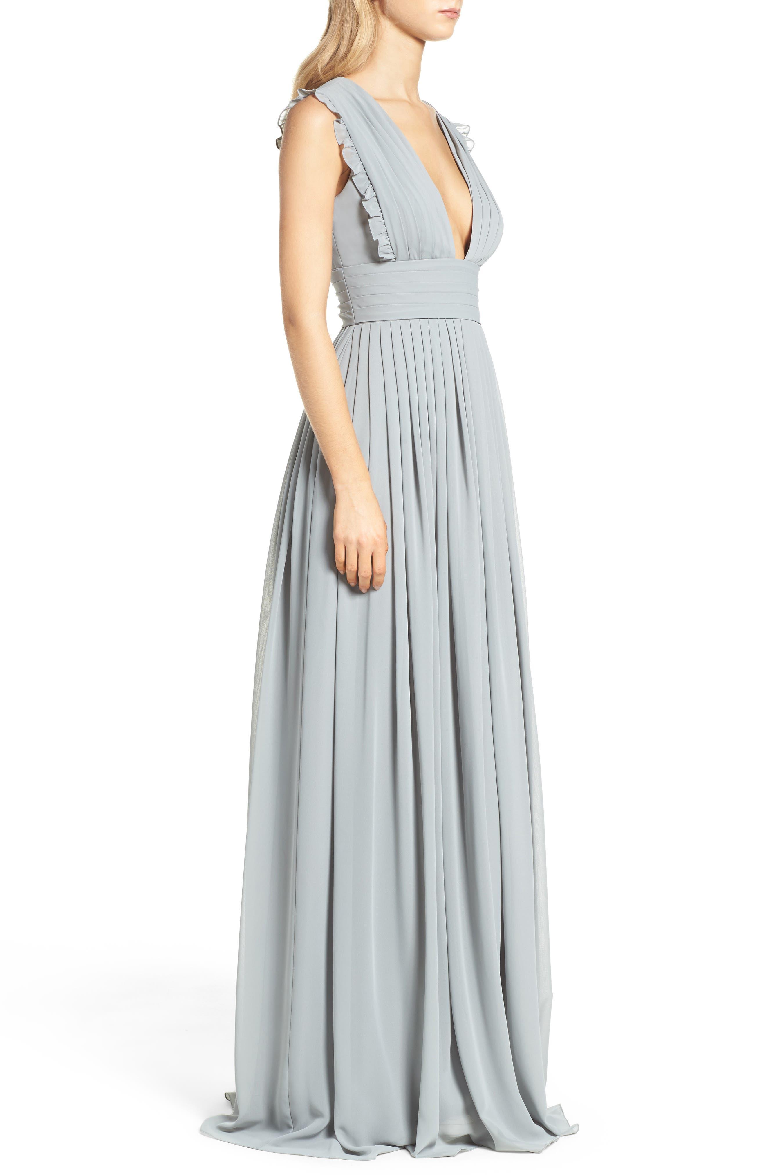 Alternate Image 3  - Monique Lhuillier Bridesmaids Deep V-Neck Ruffle Pleat Chiffon Gown