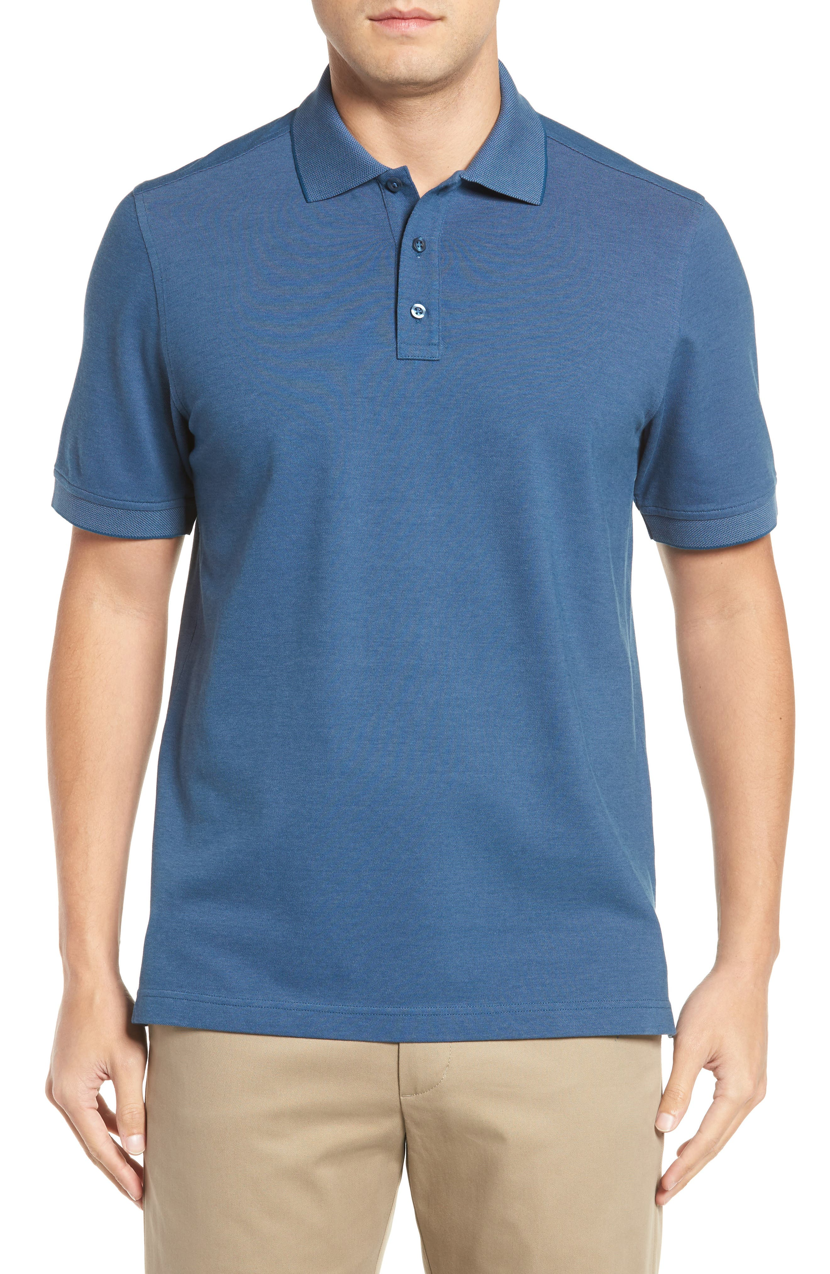 Nordstrom Men's Shop 'Classic' Regular Fit Oxford Piqué Polo (Big)