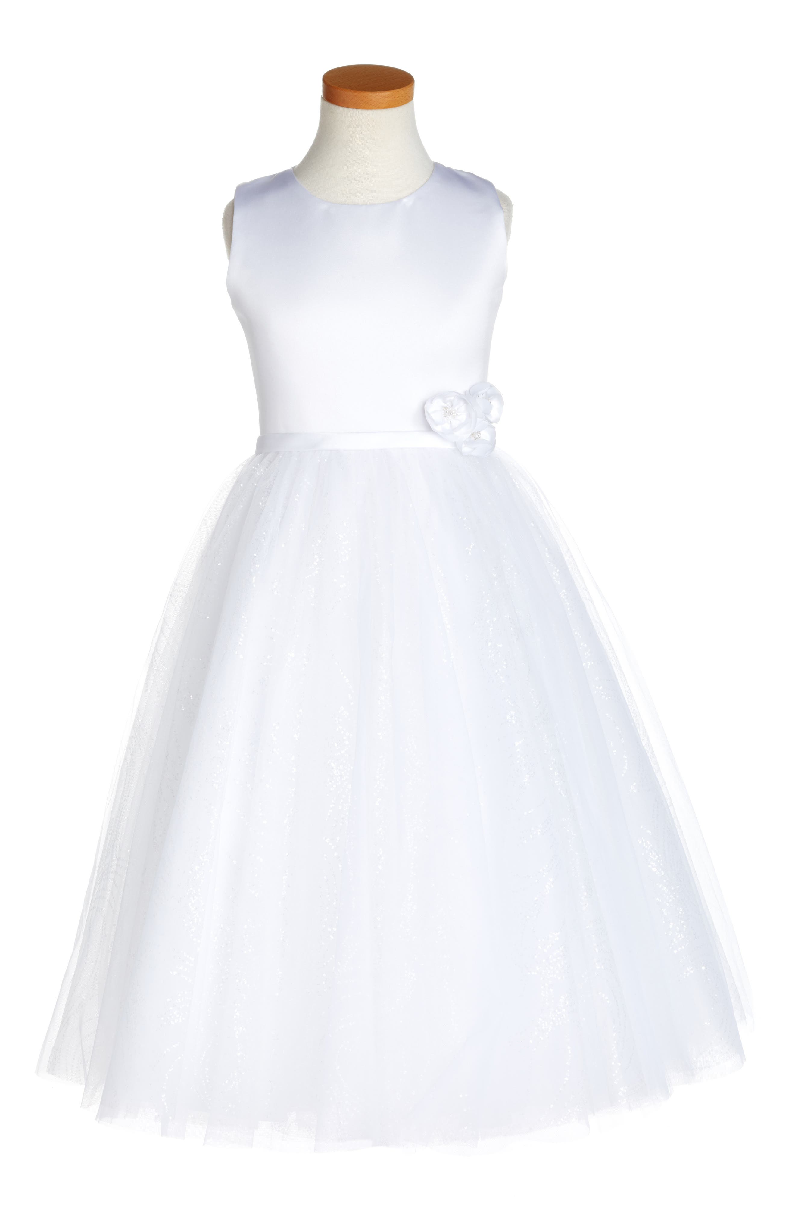 Joan Calabrese for Mon Cheri Glitter Floral First Communion Dress (Little Girls & Big Girls)