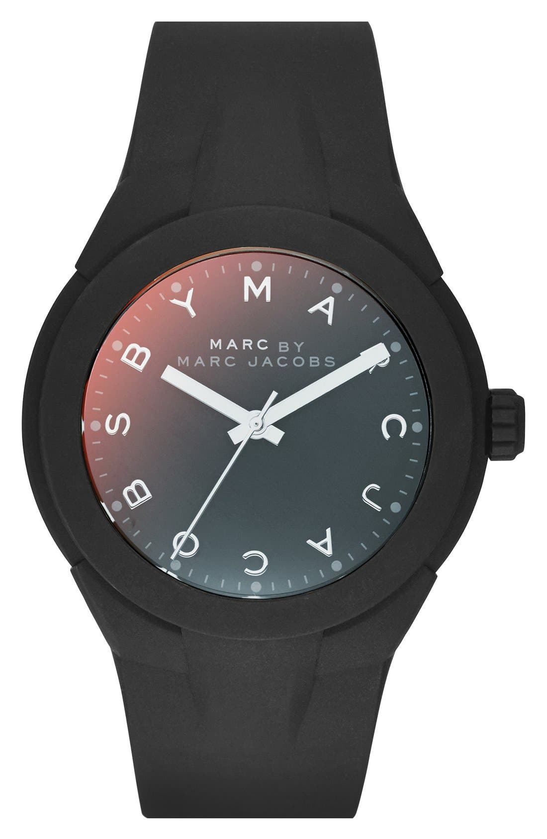 Alternate Image 1 Selected - MARC BY MARC JACOBS 'X-Up' Round Silicone Strap Watch, 38mm