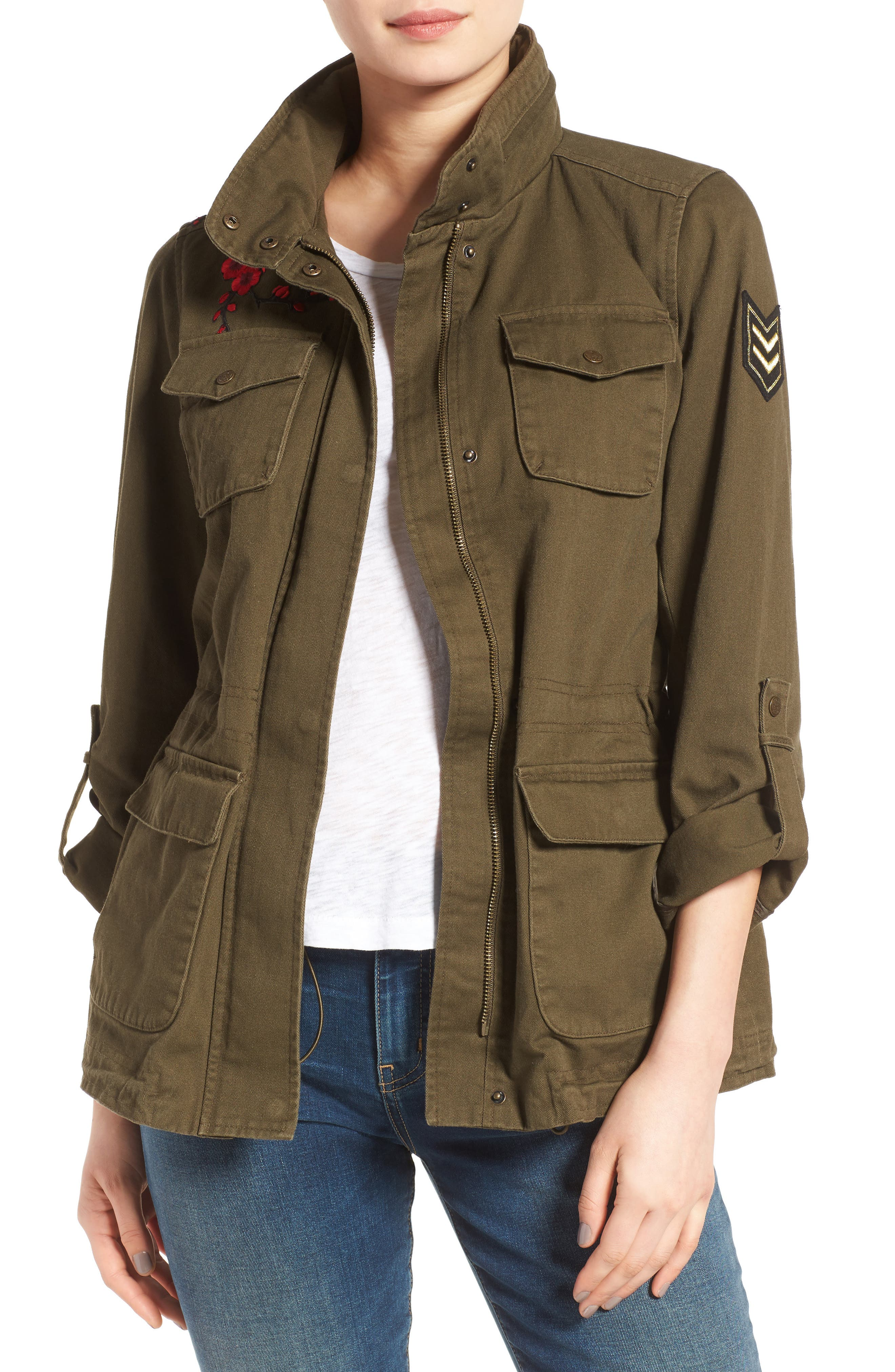 Vince Camuto Embroidered Cotton Twill Utility Jacket