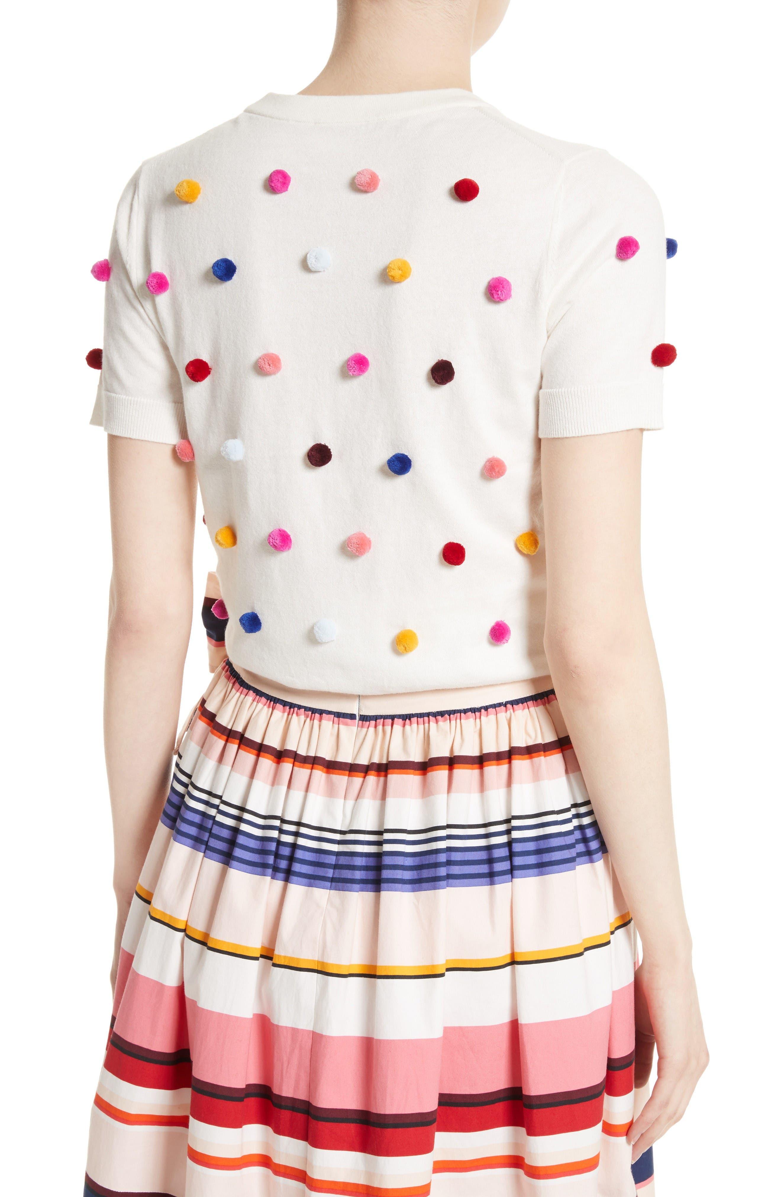 Alternate Image 3  - kate spade new york pom embellished cotton & cashmere sweater