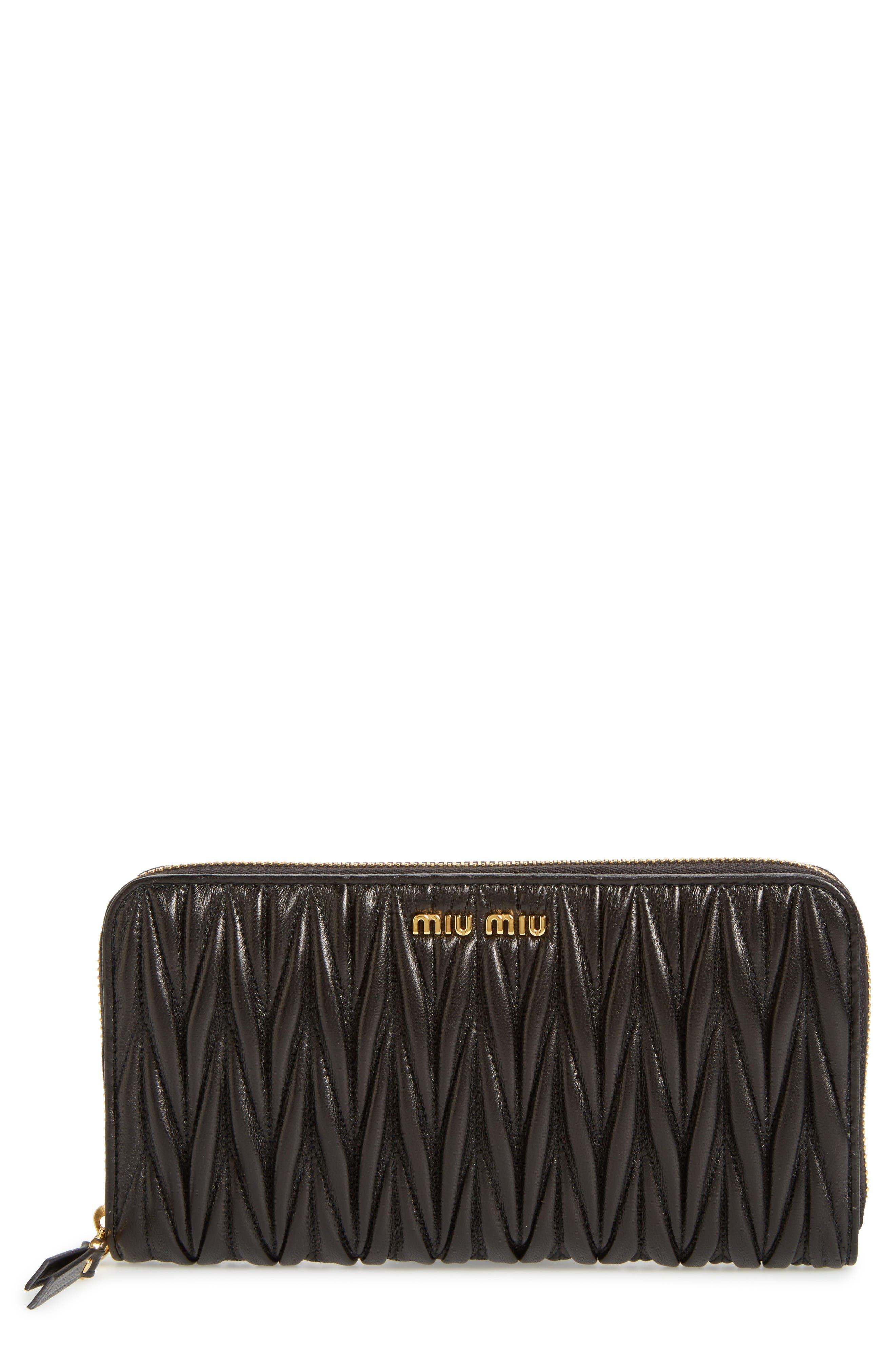 Miu Miu Matelassé Leather Zip Around Wallet