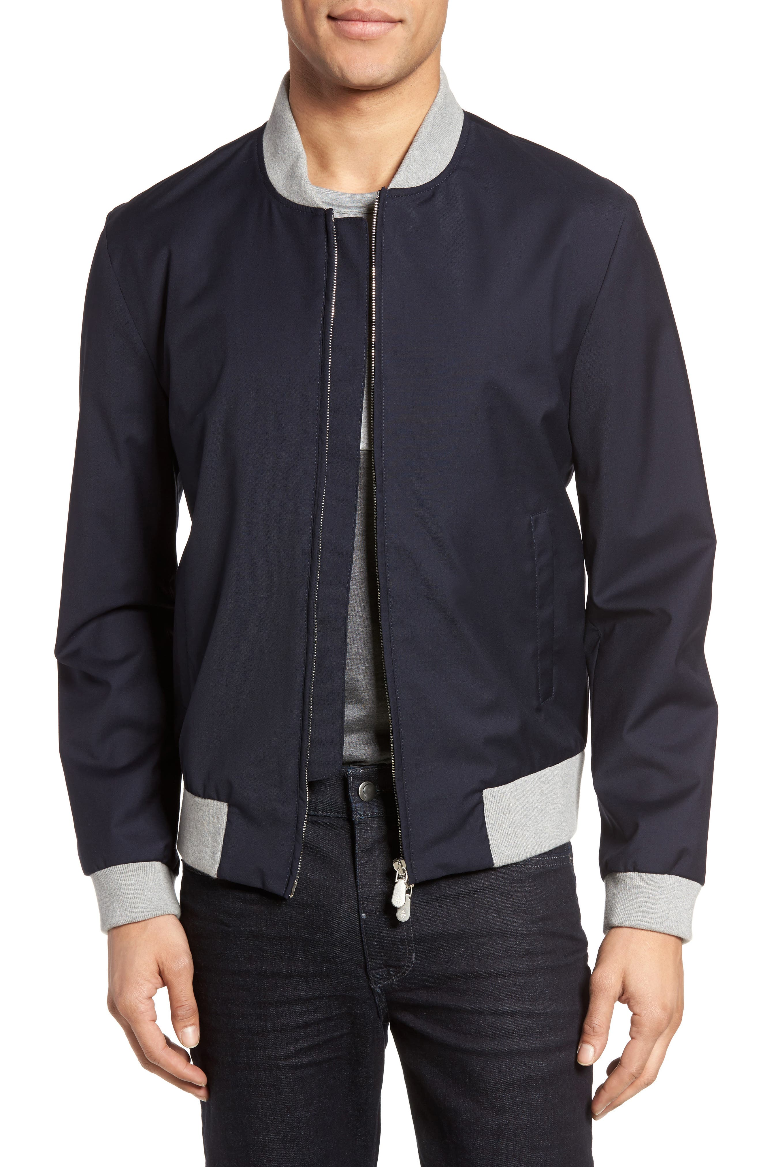 ELEVENTY Water Resistant Wool Bomber Jacket