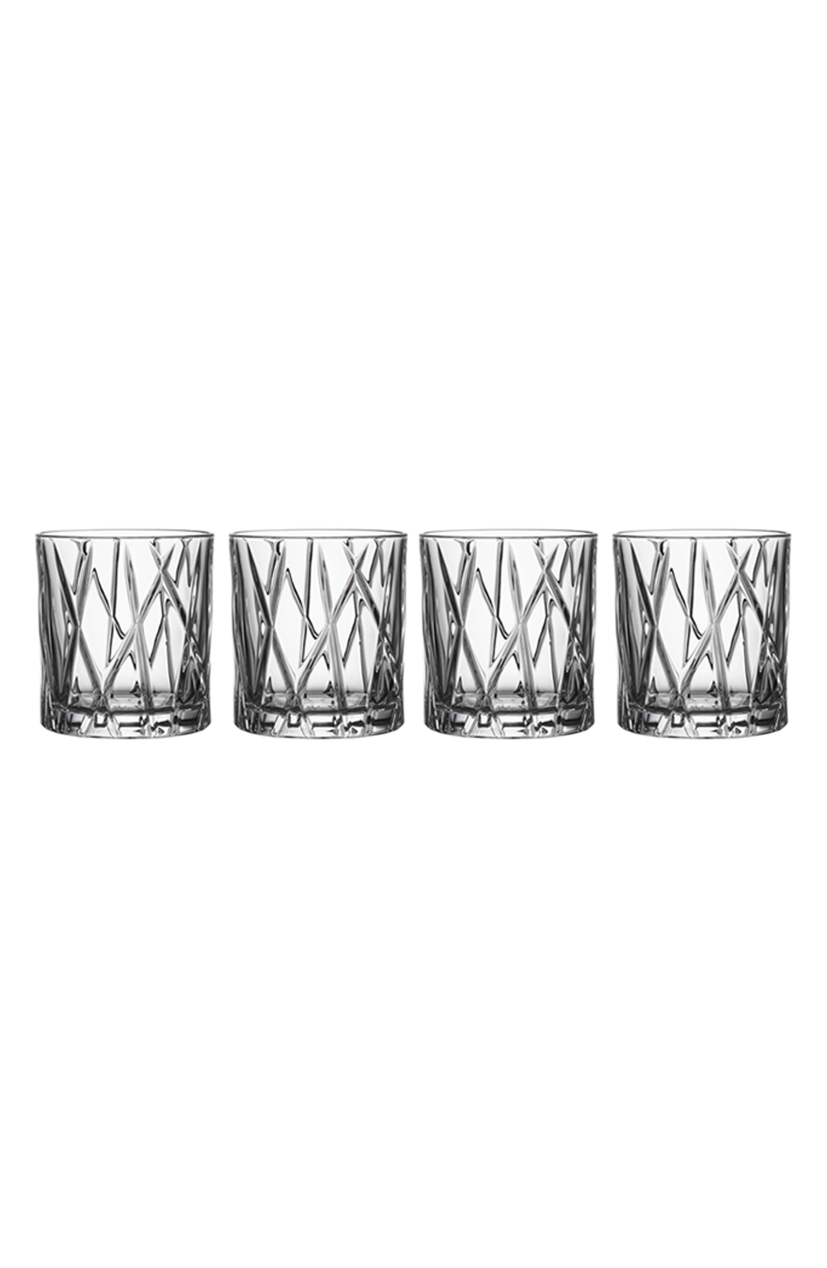 Orrefors City Set of 4 Crystal Old Fashioned Glasses