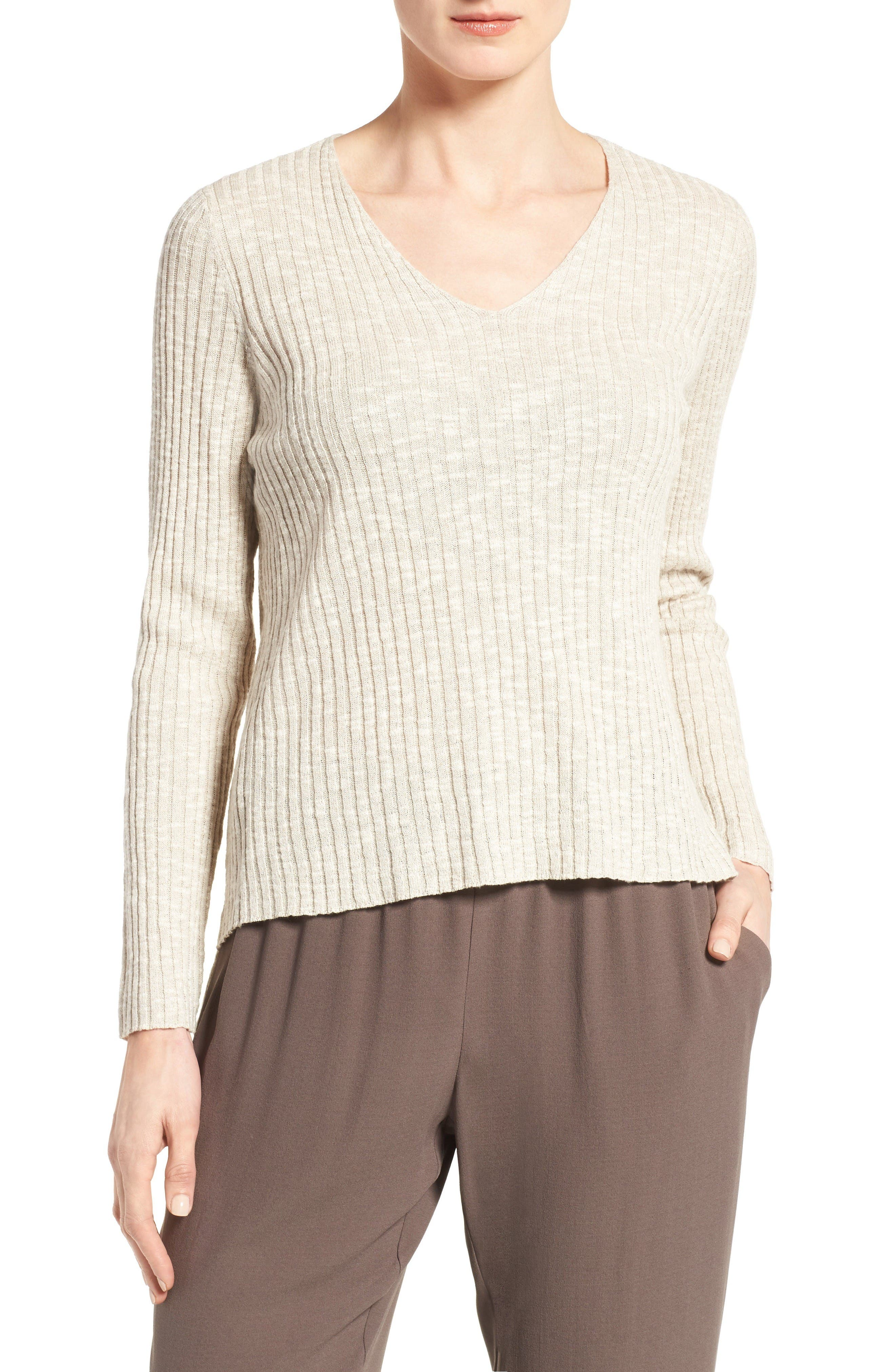 Eileen Fisher Organic Linen & Cotton V-Neck Sweater